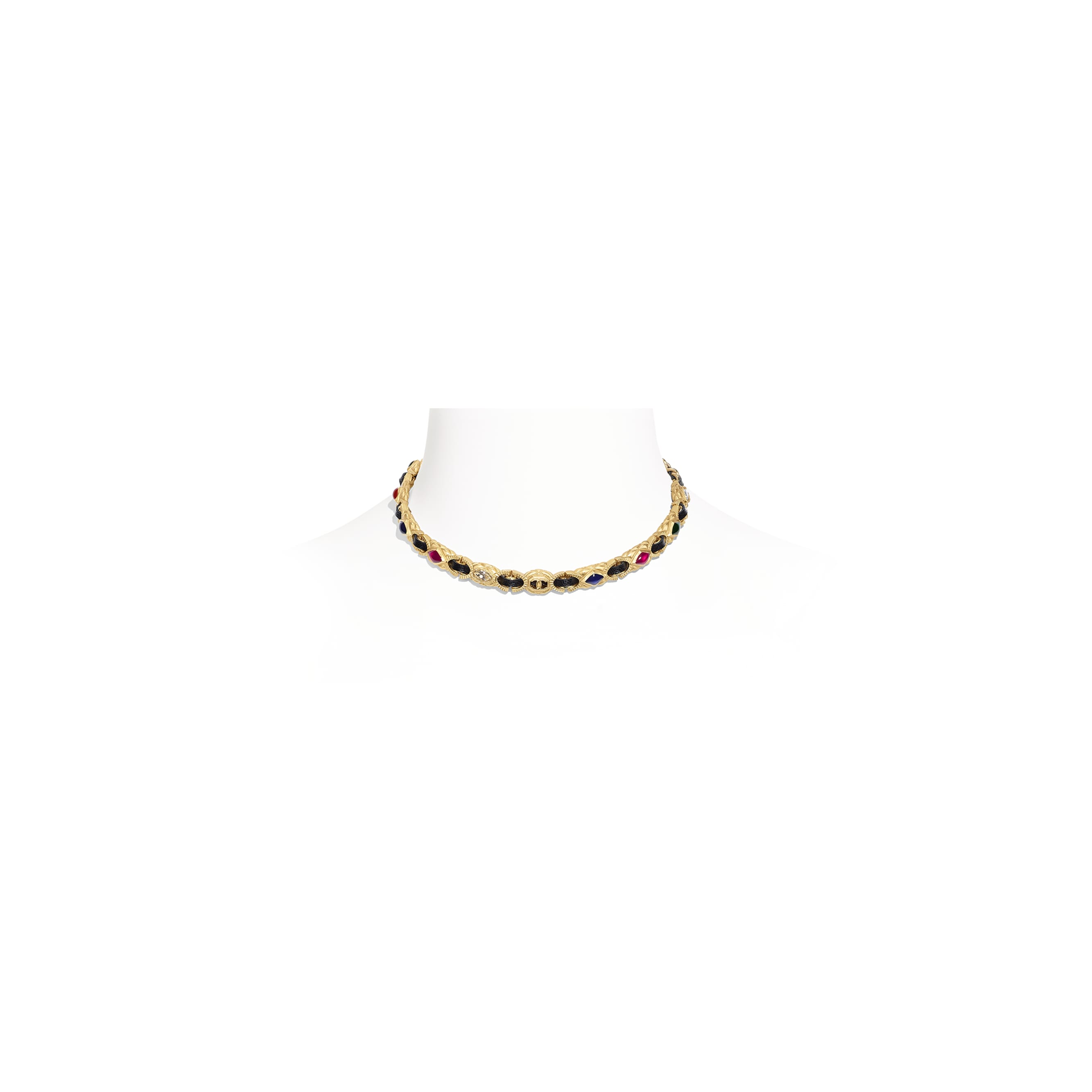 Choker - Gold, Black, Crystal & Multicolor - Metal, lambskin, diamanté & resin - Default view - see standard sized version