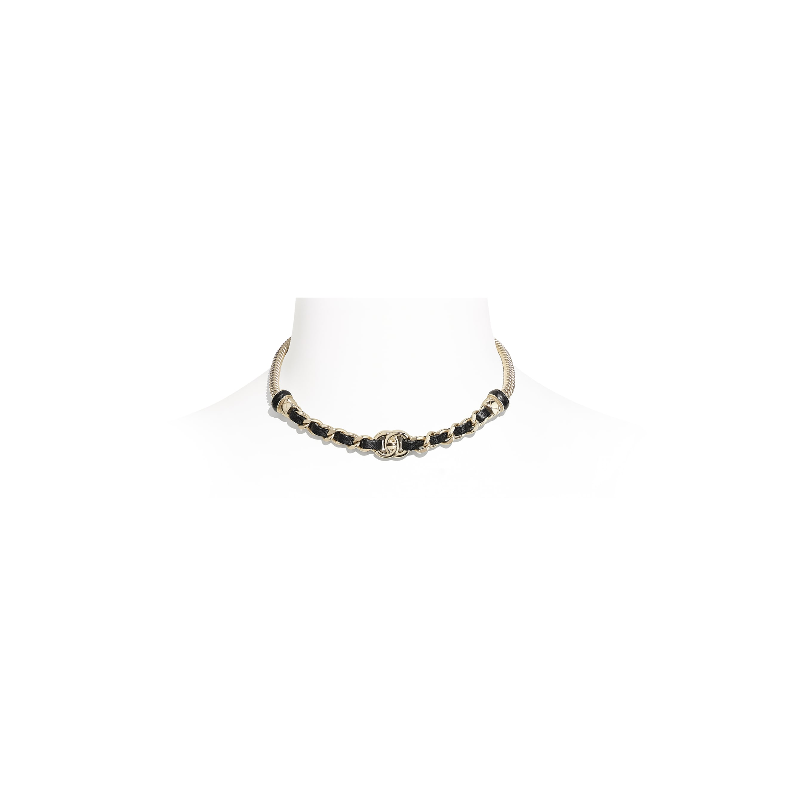 Choker - Gold & Black - Metal & Lambskin - CHANEL - Default view - see standard sized version