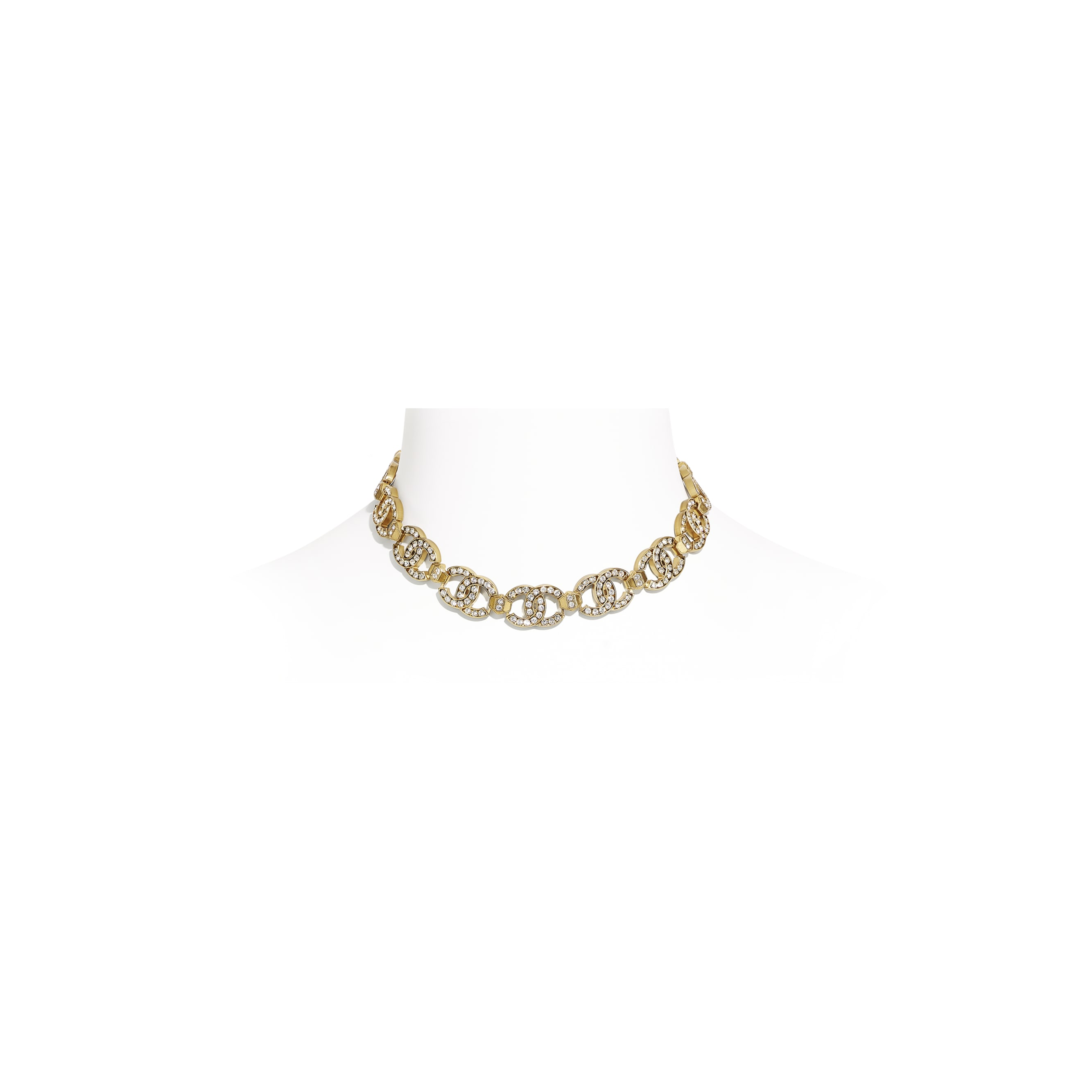 Choker - Gold & Crystal - Metal & Strass - CHANEL - Default view - see standard sized version
