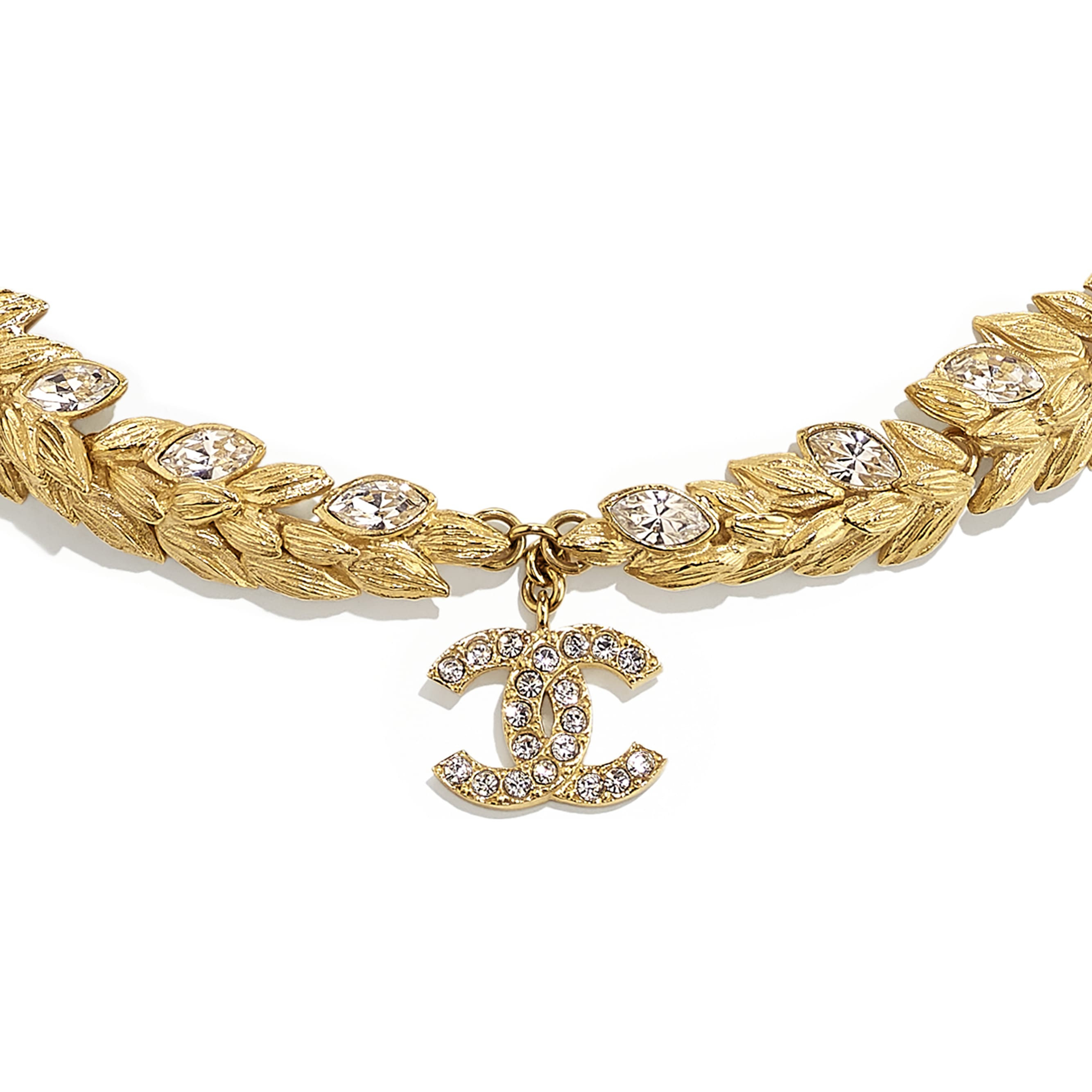Choker - Gold & Crystal - Metal & Diamantés - CHANEL - Other view - see standard sized version
