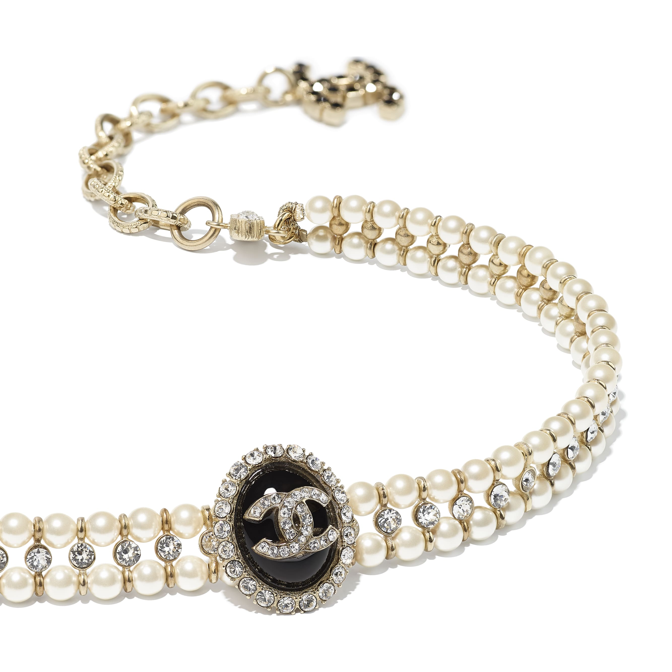 Choker - Gold, Pearly White, Crystal & Black - Metal, Glass Pearls, Diamanté & Resin - CHANEL - Alternative view - see standard sized version