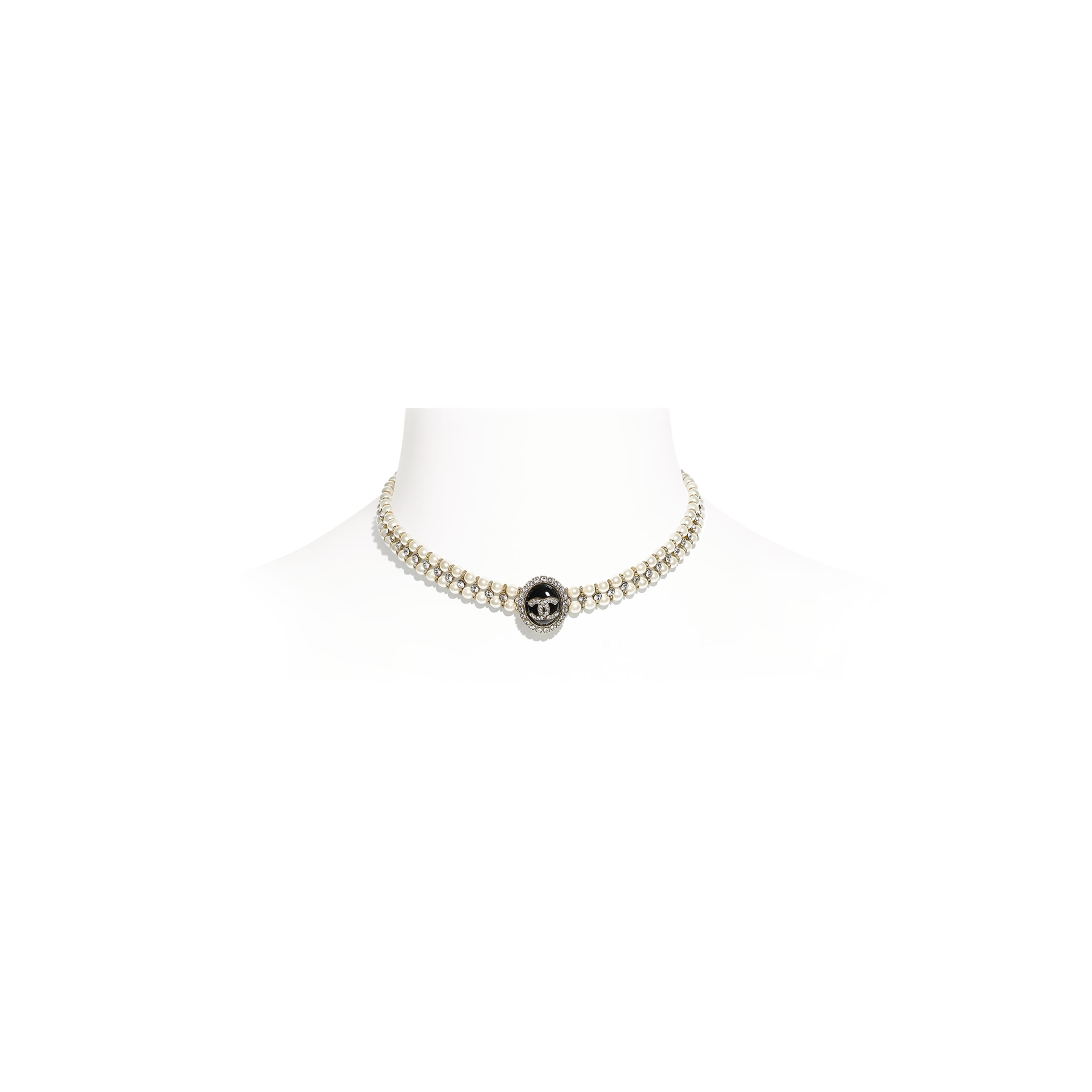 Choker - Gold, Pearly White, Crystal & Black - Metal, Glass Pearls, Diamanté & Resin - CHANEL - Default view - see standard sized version