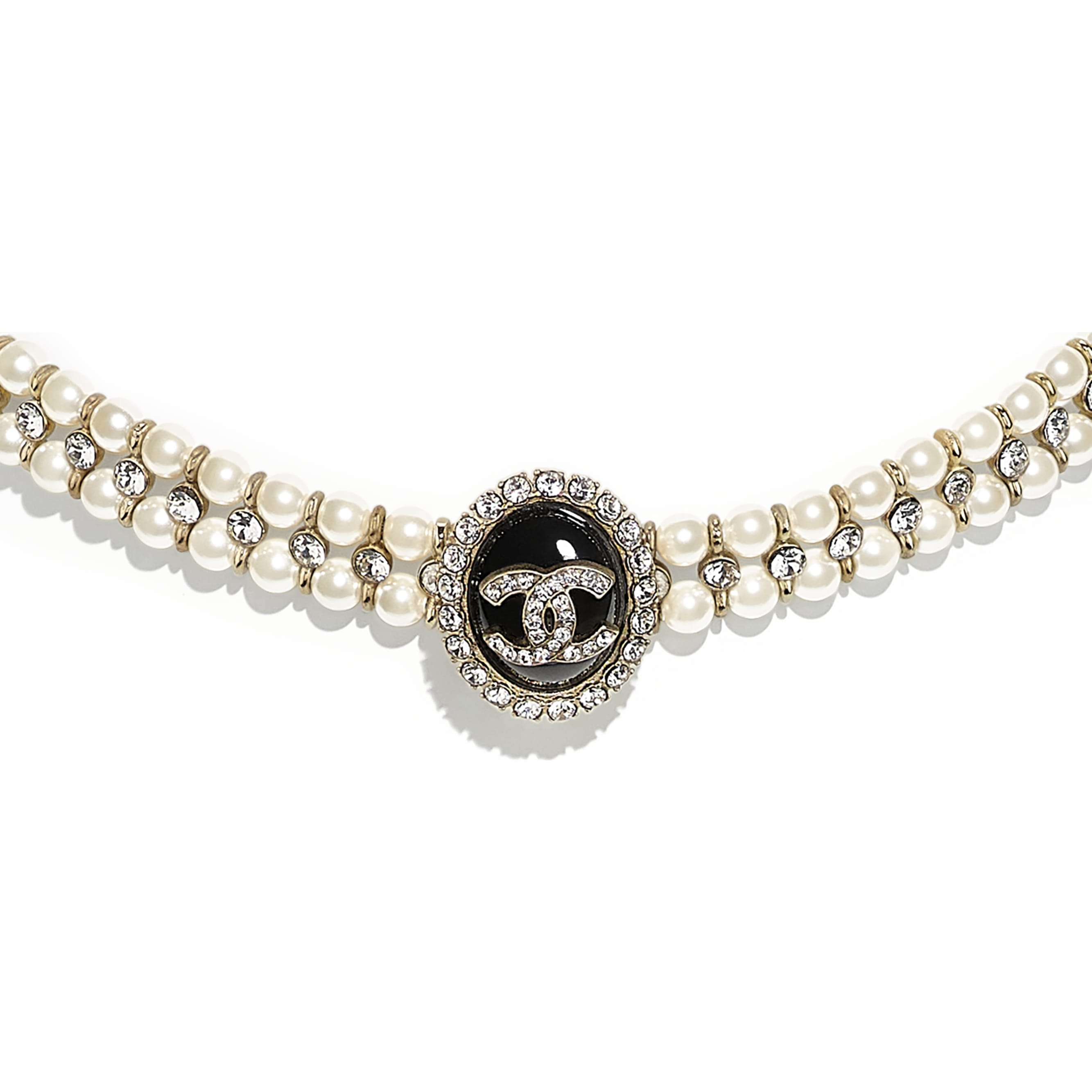 Choker - Gold, Pearly White, Crystal & Black - Metal, Glass Pearls, Diamanté & Resin - CHANEL - Other view - see standard sized version