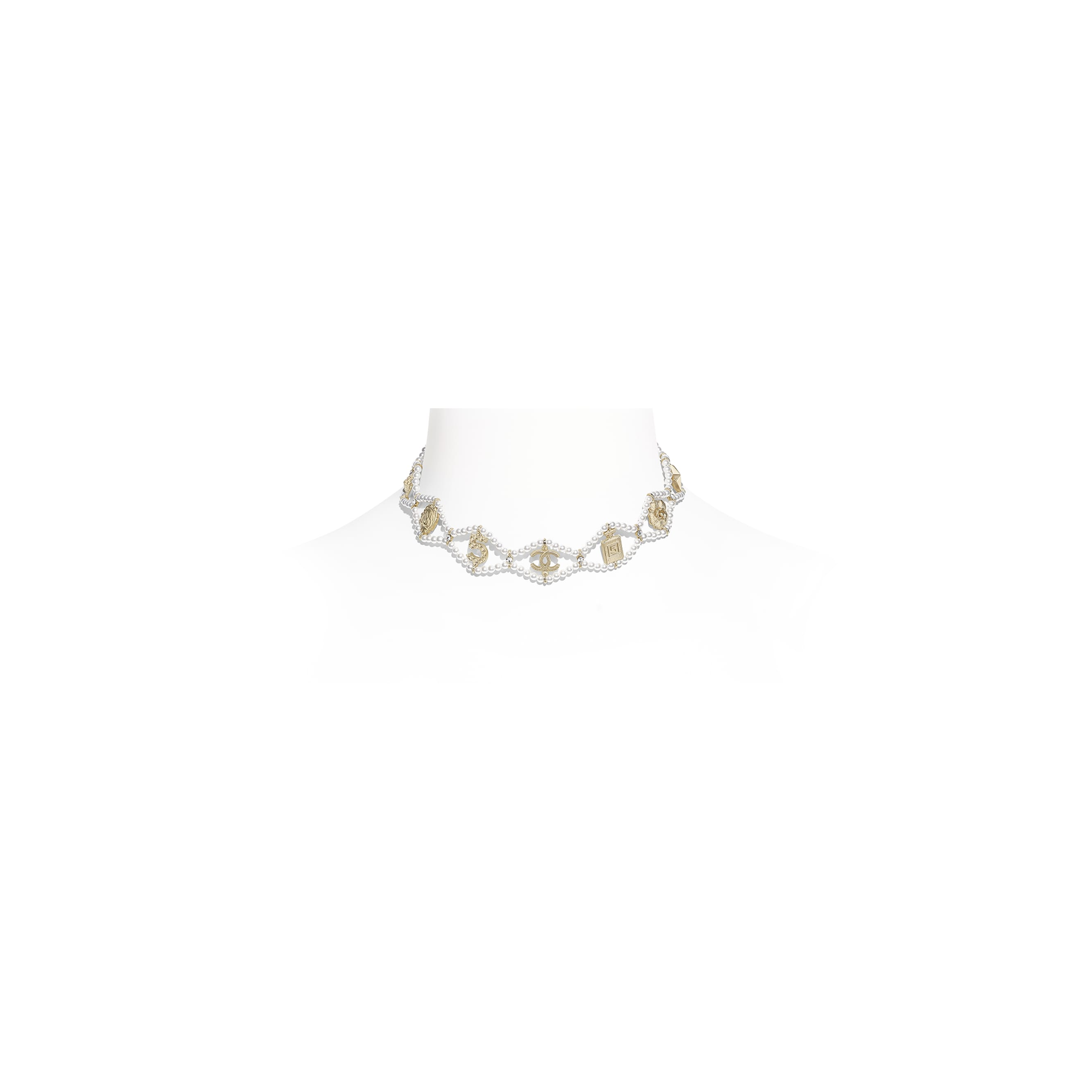 Choker - Gold, Pearly White & Crystal - Metal, Glass Pearls & Diamantés - Default view - see standard sized version
