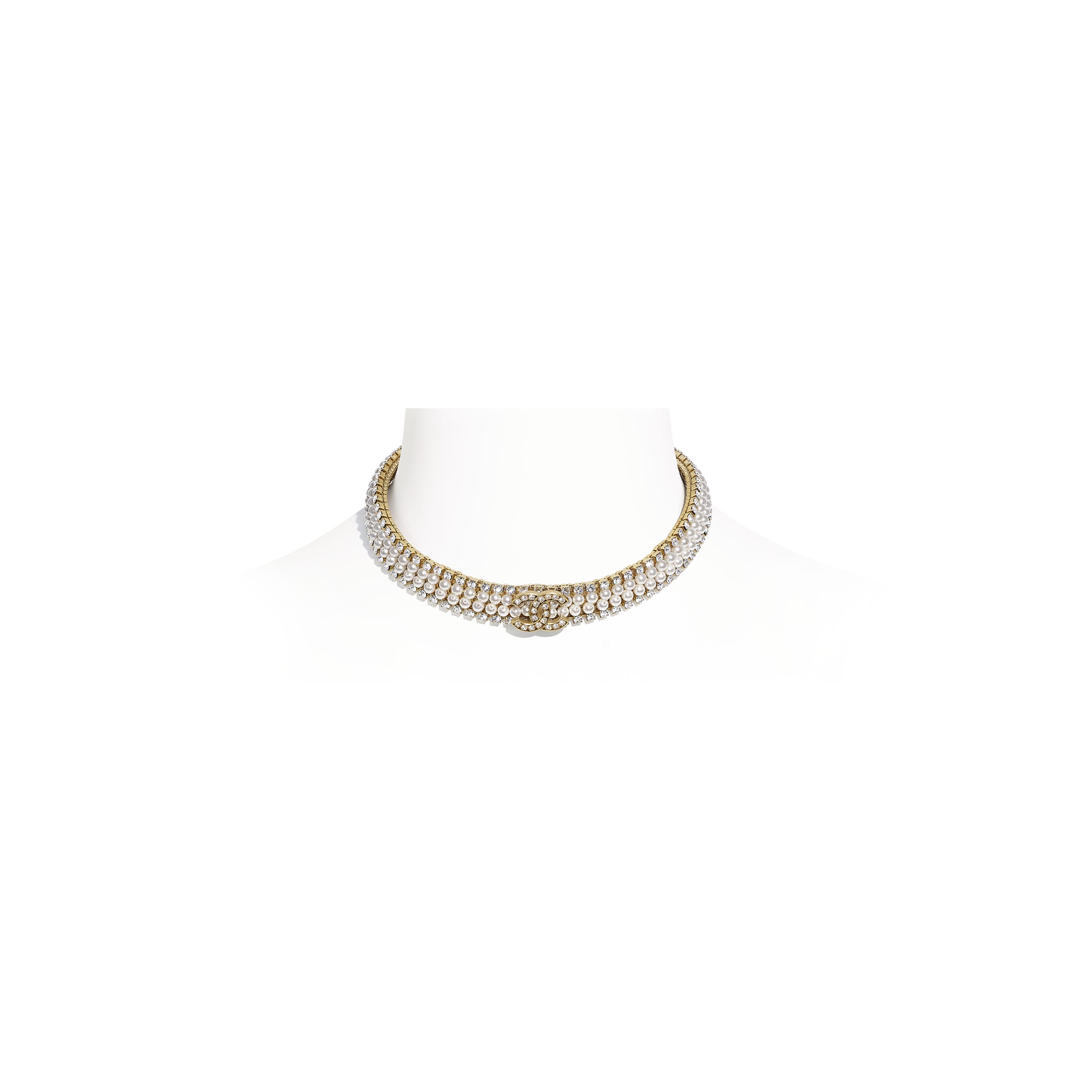 Choker - Gold, Pearly White & Crystal - Metal, Glass Pearls & Diamantés - CHANEL - Default view - see standard sized version