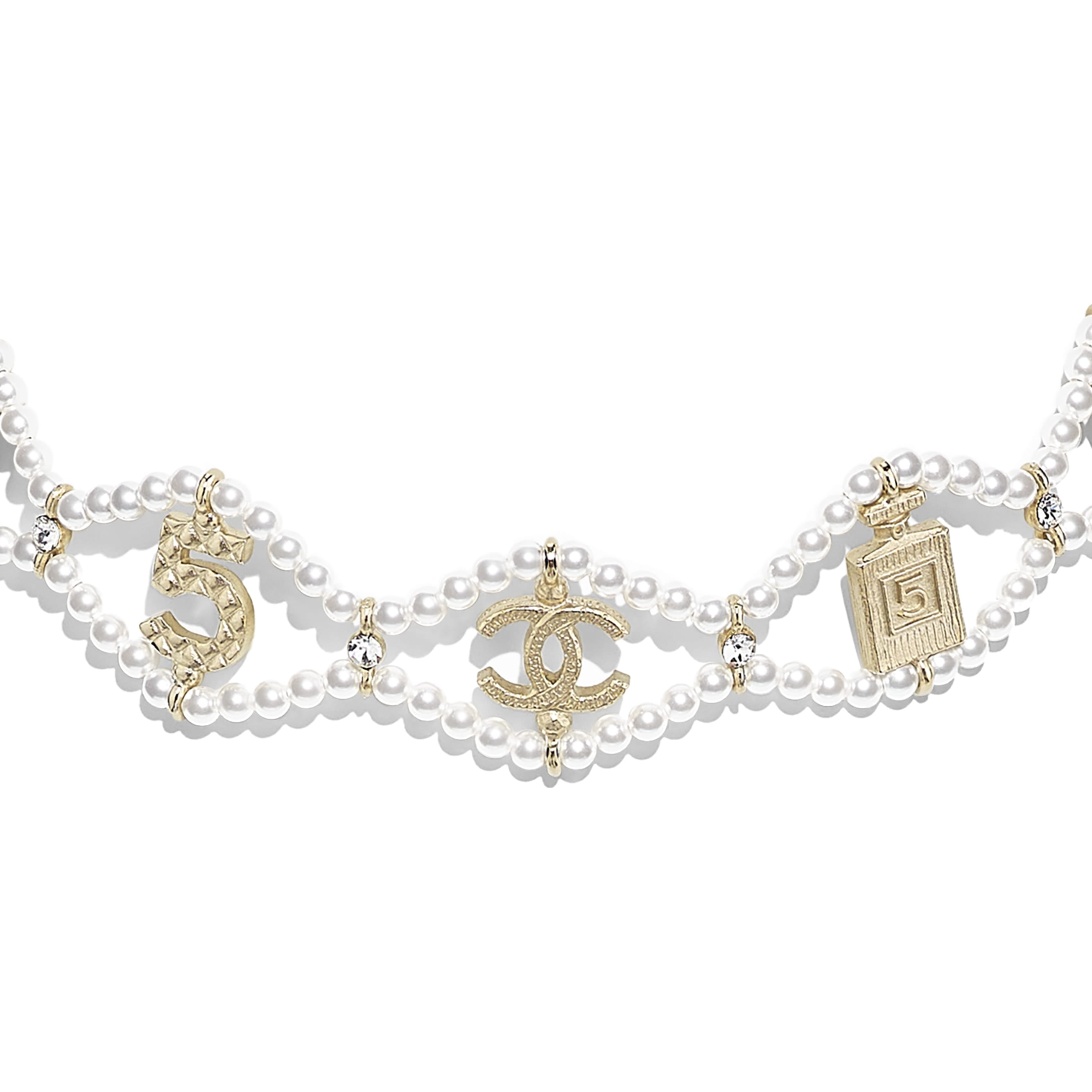 Choker - Gold, Pearly White & Crystal - Metal, Glass Pearls & Diamantés - Other view - see standard sized version