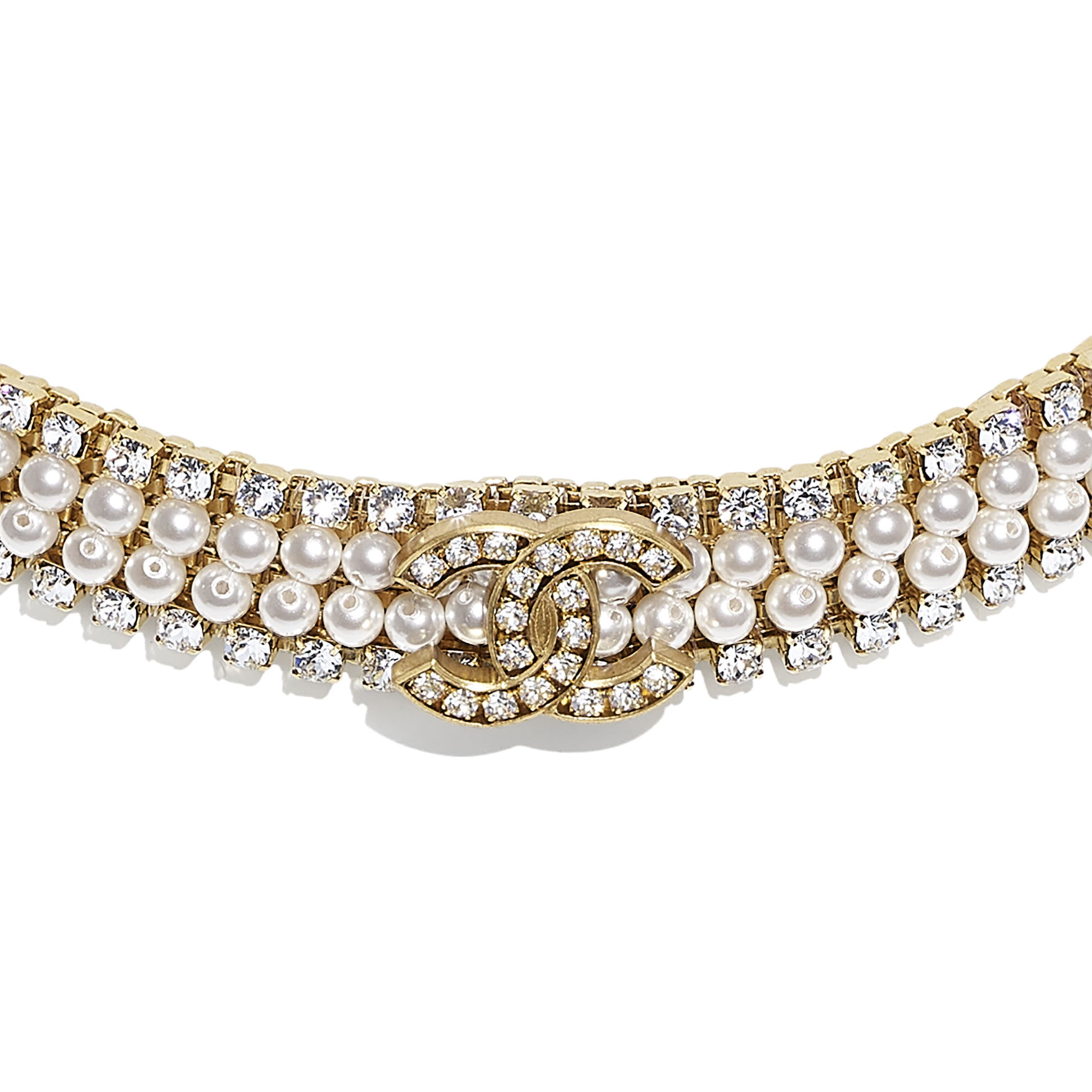 Choker - Gold, Pearly White & Crystal - Metal, Glass Pearls & Diamantés - CHANEL - Other view - see standard sized version