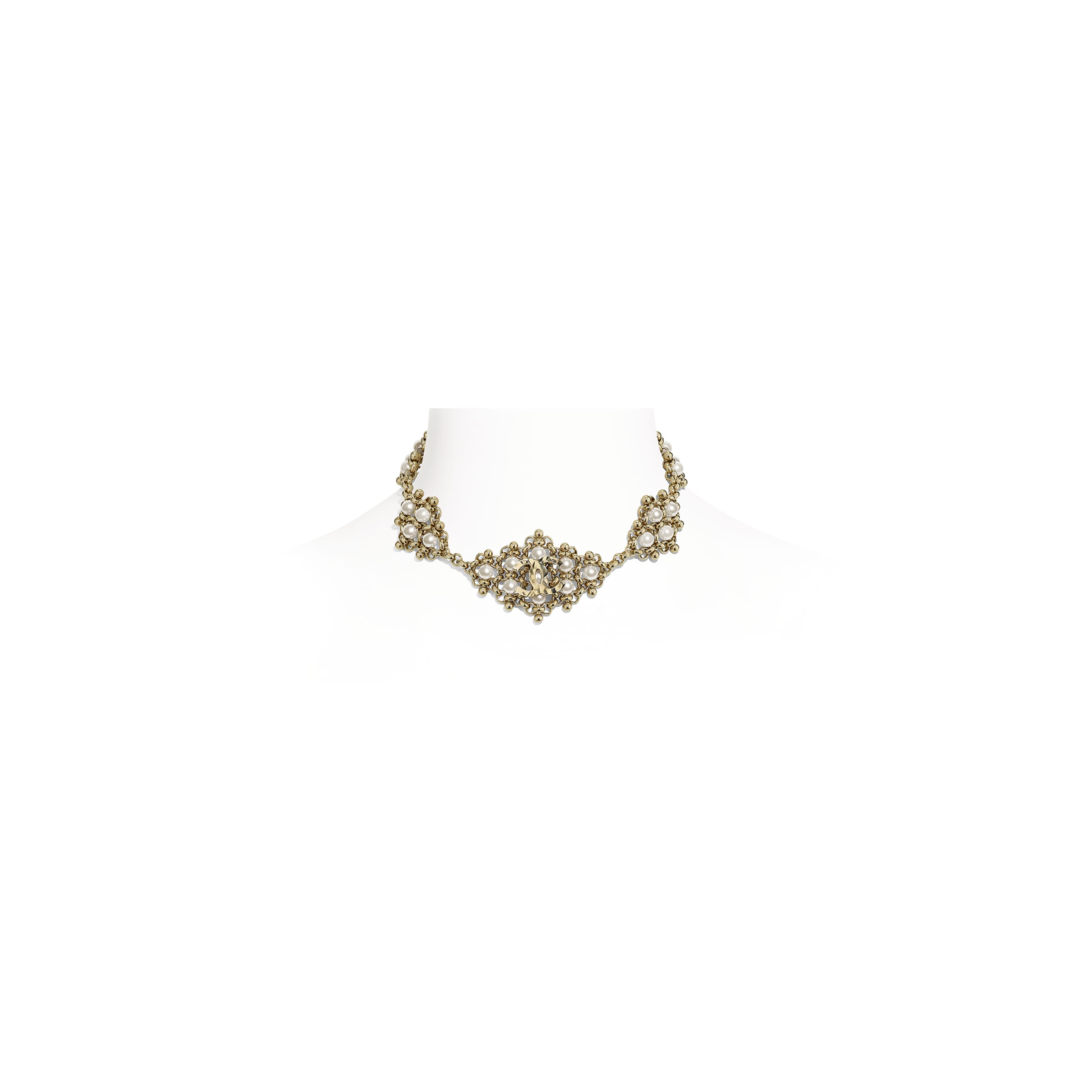 Choker - Gold & Pearly White - Metal & Imitation Pearls - Default view - see standard sized version