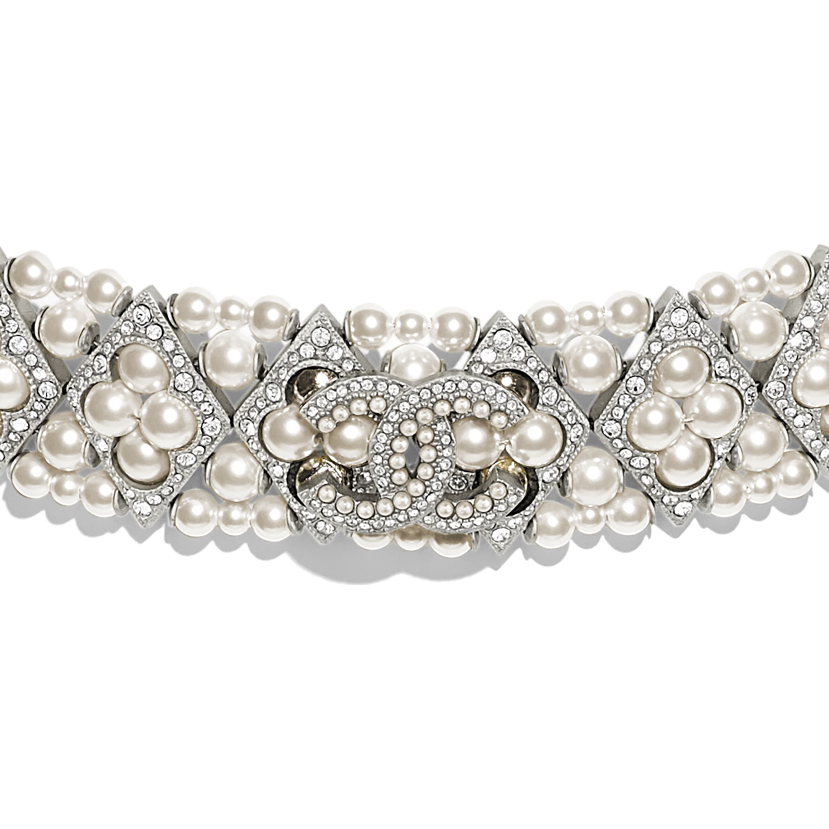 Choker - Silver, Pearly White & Crystal - Metal, Glass Pearls & Diamantés - Other view - see standard sized version