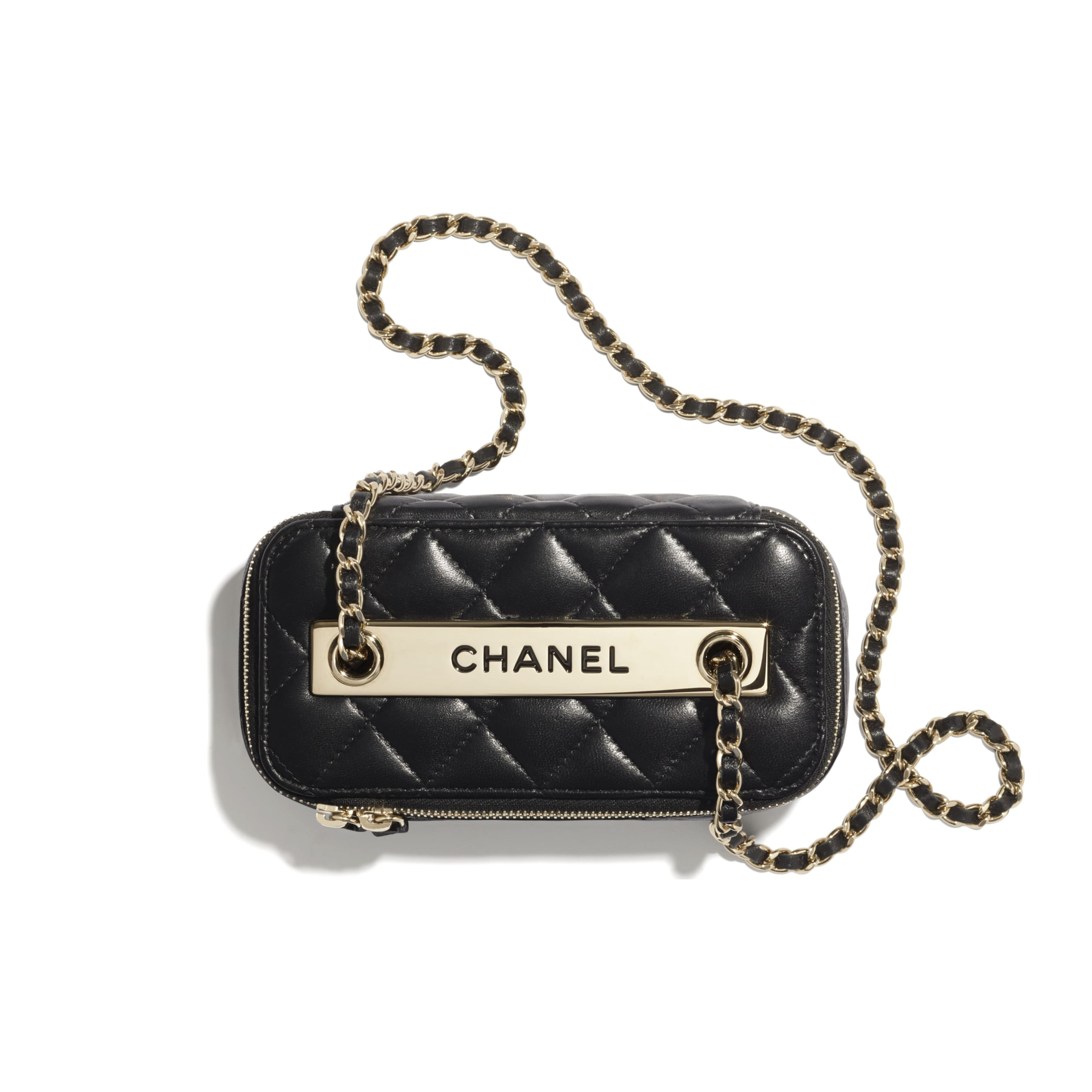 Classic Box with Chain - Black - Lambskin & Gold-Tone Metal - CHANEL - Alternative view - see standard sized version