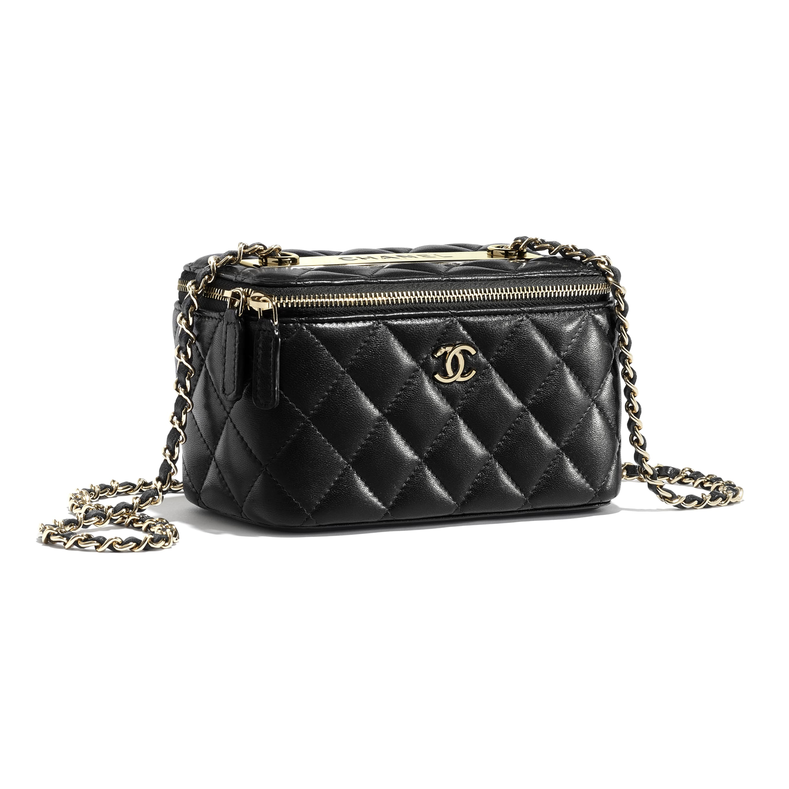 Classic Box with Chain - Black - Lambskin & Gold-Tone Metal - CHANEL - Extra view - see standard sized version