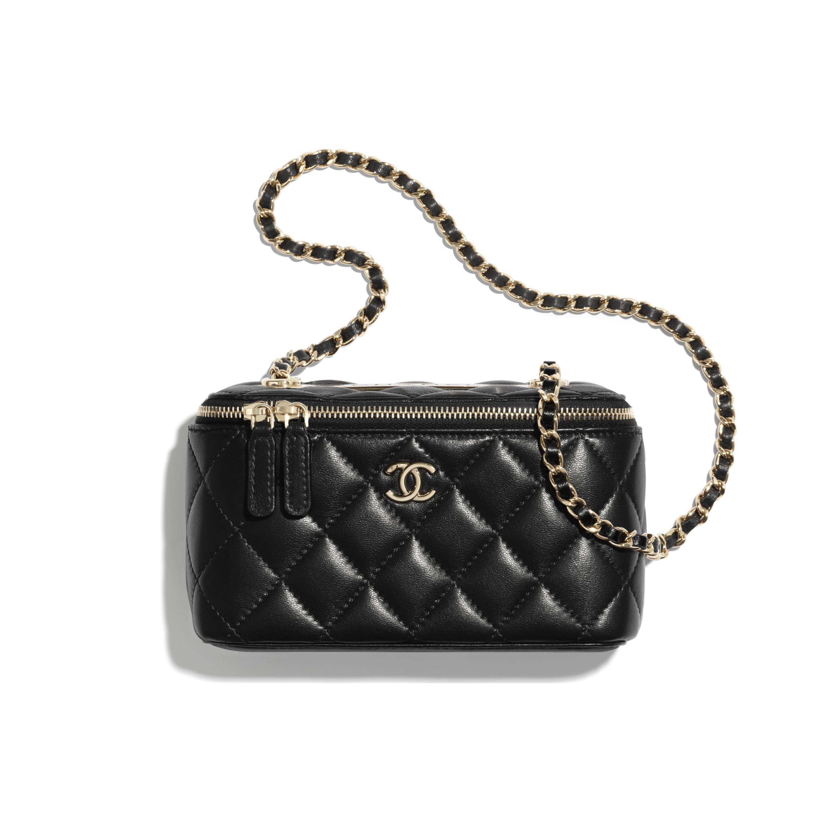 Vanity con cadena clásica - Negro - Piel de cordero y metal plateado - CHANEL - Vista por defecto - ver la versión tamaño estándar