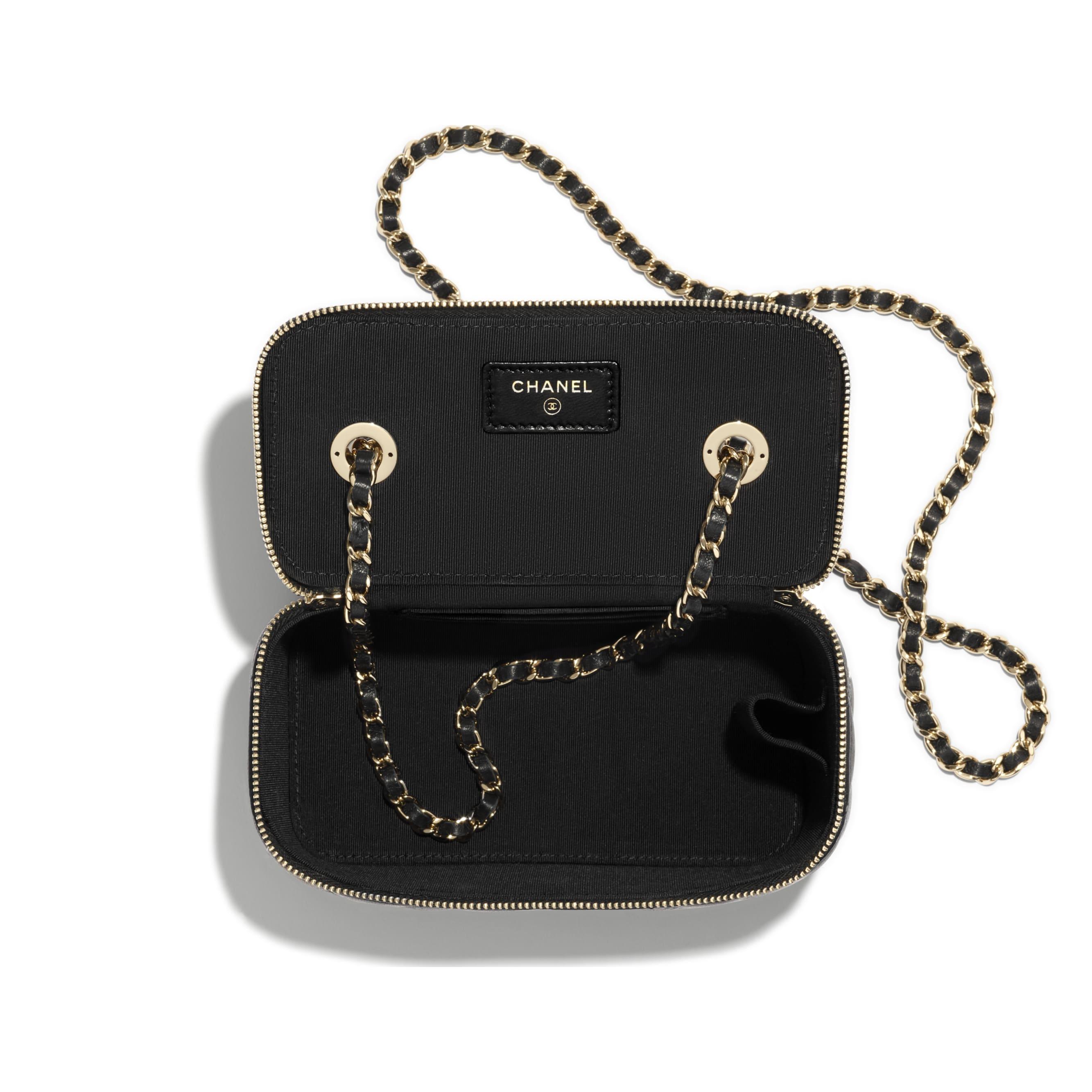 Vanity con cadena clásica - Negro - Piel de cordero y metal plateado - CHANEL - Otra vista - ver la versión tamaño estándar