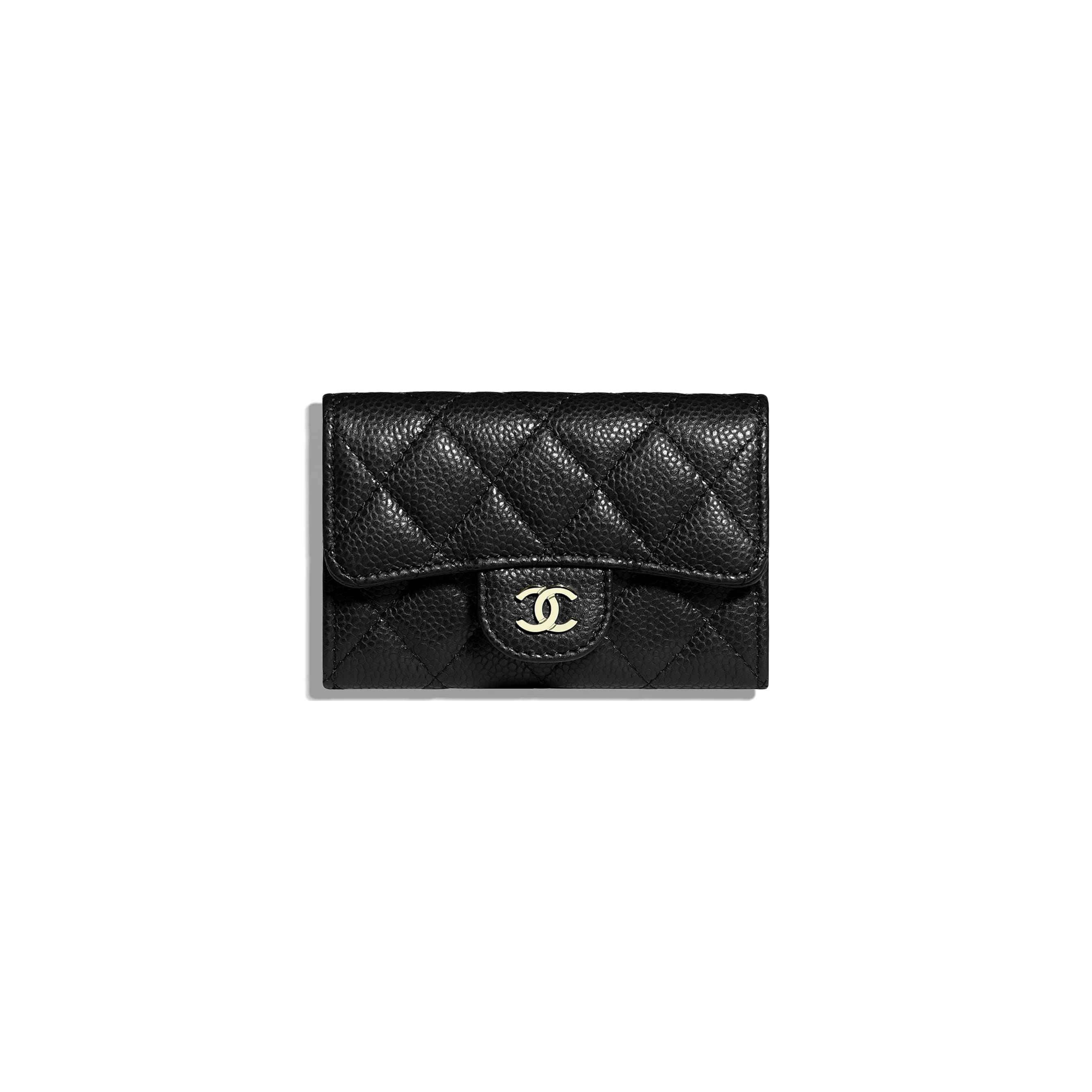Classic Card Holder - Black - Grained Calfskin & Gold-Tone Metal - CHANEL - Default view - see standard sized version
