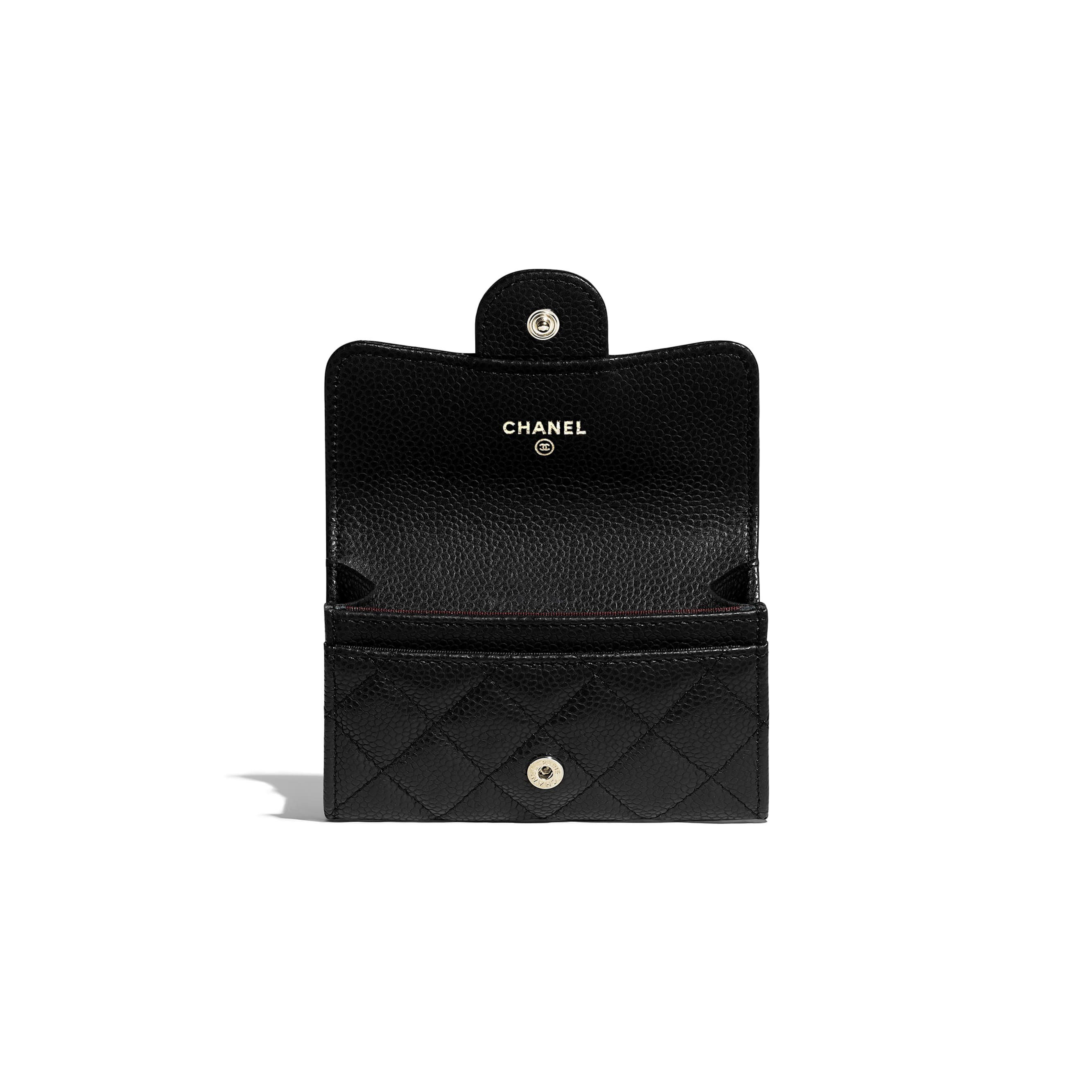 Classic Card Holder - Black - Grained Calfskin & Gold-Tone Metal - CHANEL - Other view - see standard sized version