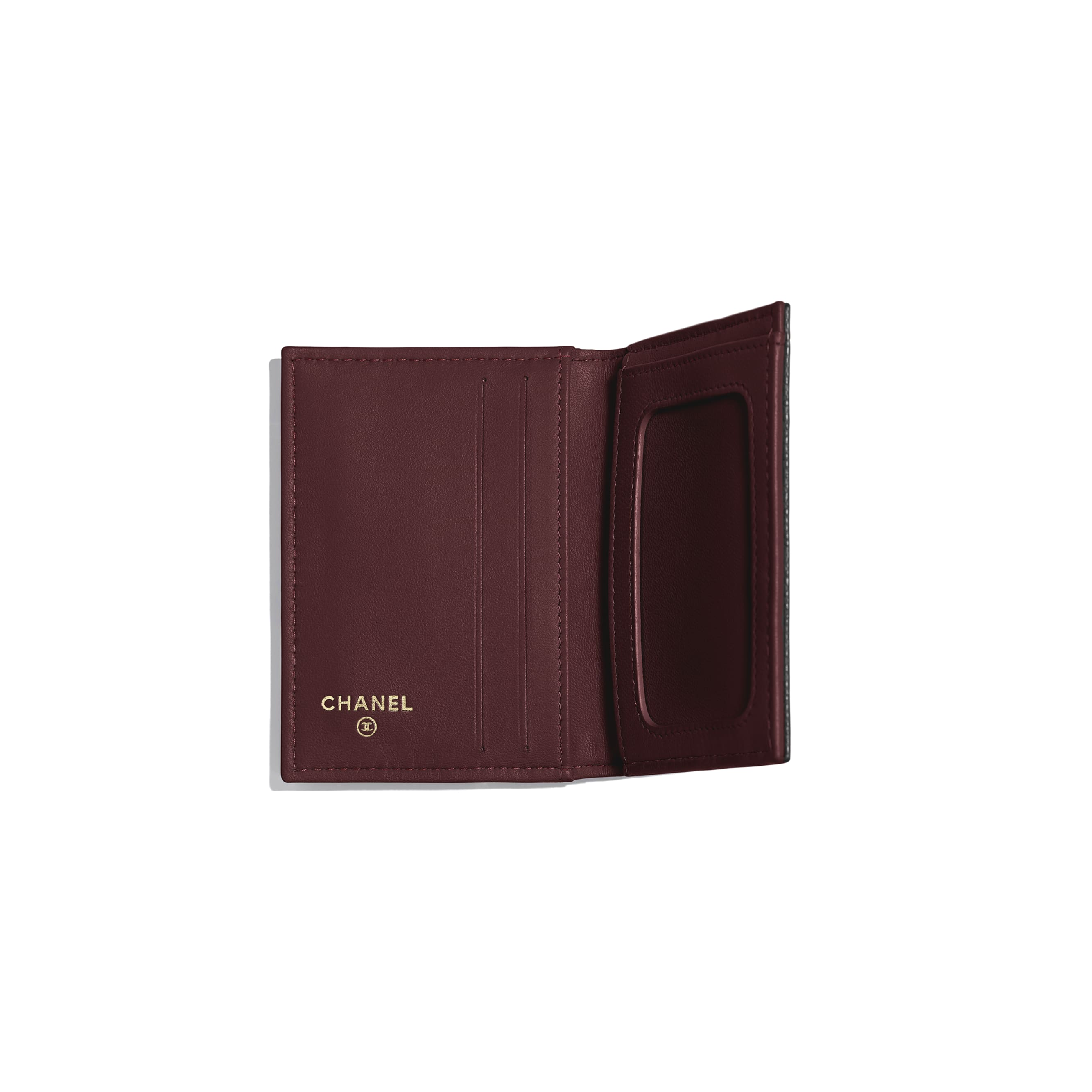 Classic Card Holder - Black - Grained Calfskin & Gold-Tone Metal - Other view - see standard sized version
