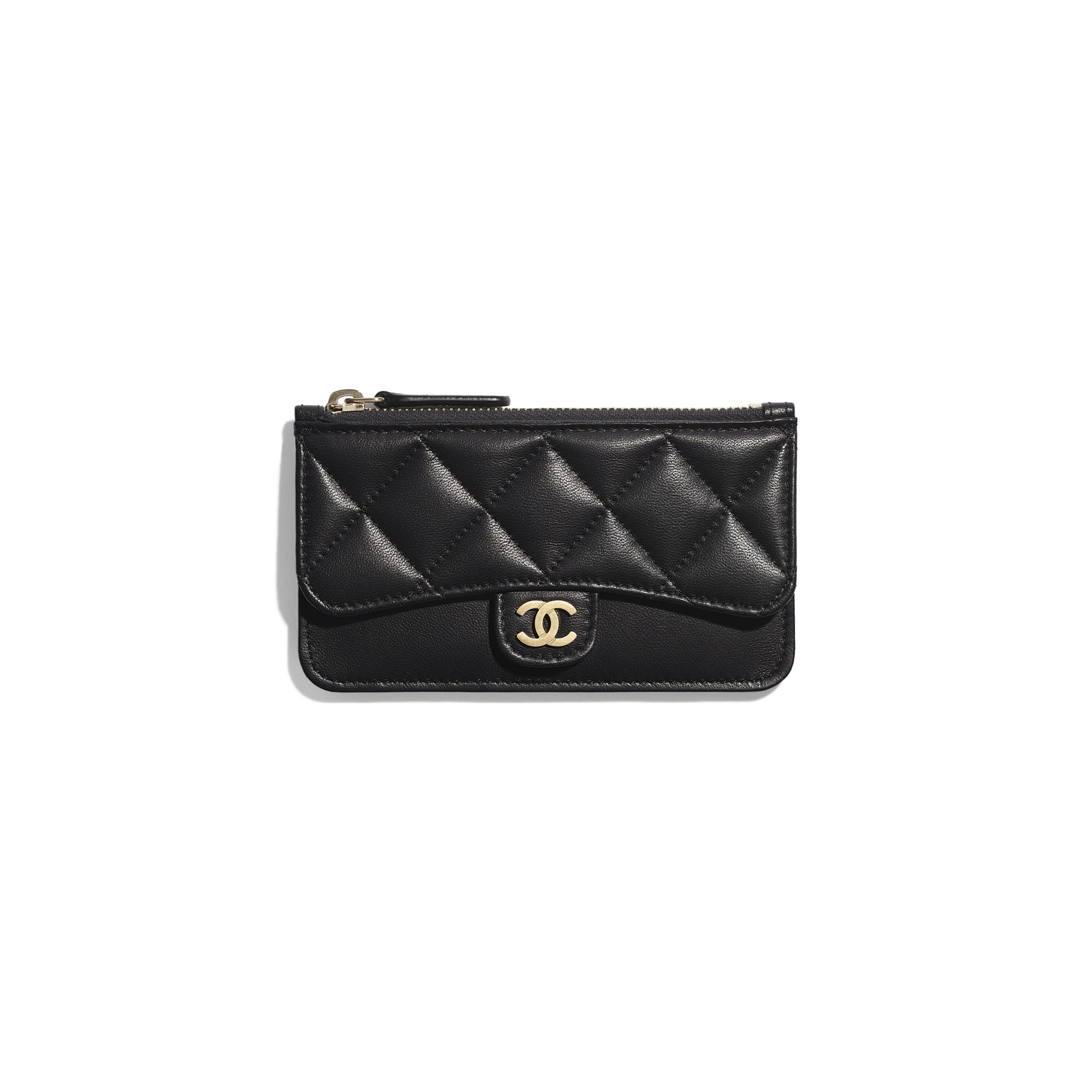 Classic Card Holder - Black - Lambskin & Gold-Tone Metal - Default view - see standard sized version