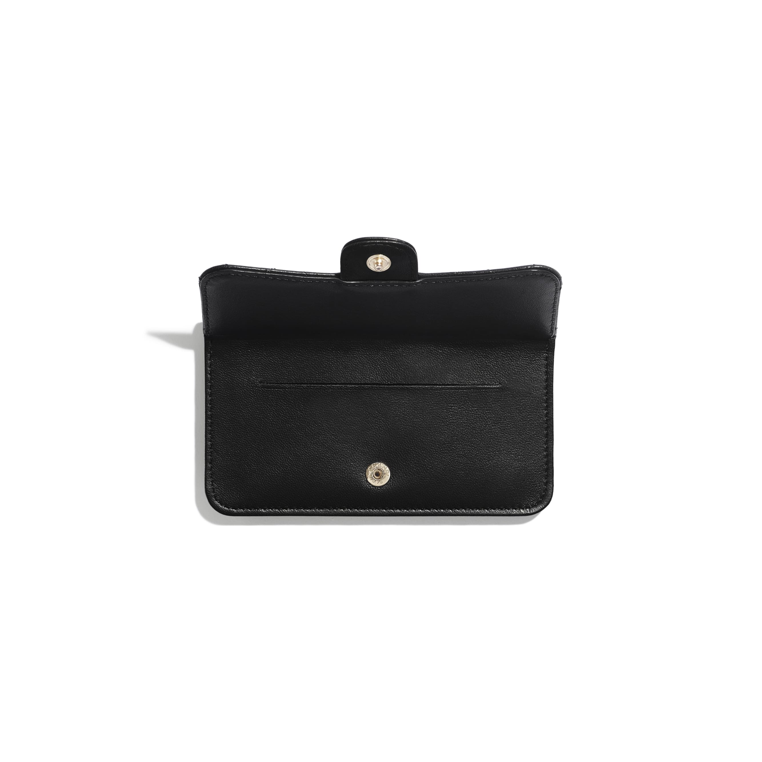 Classic Card Holder - Black - Lambskin & Gold-Tone Metal - Other view - see standard sized version