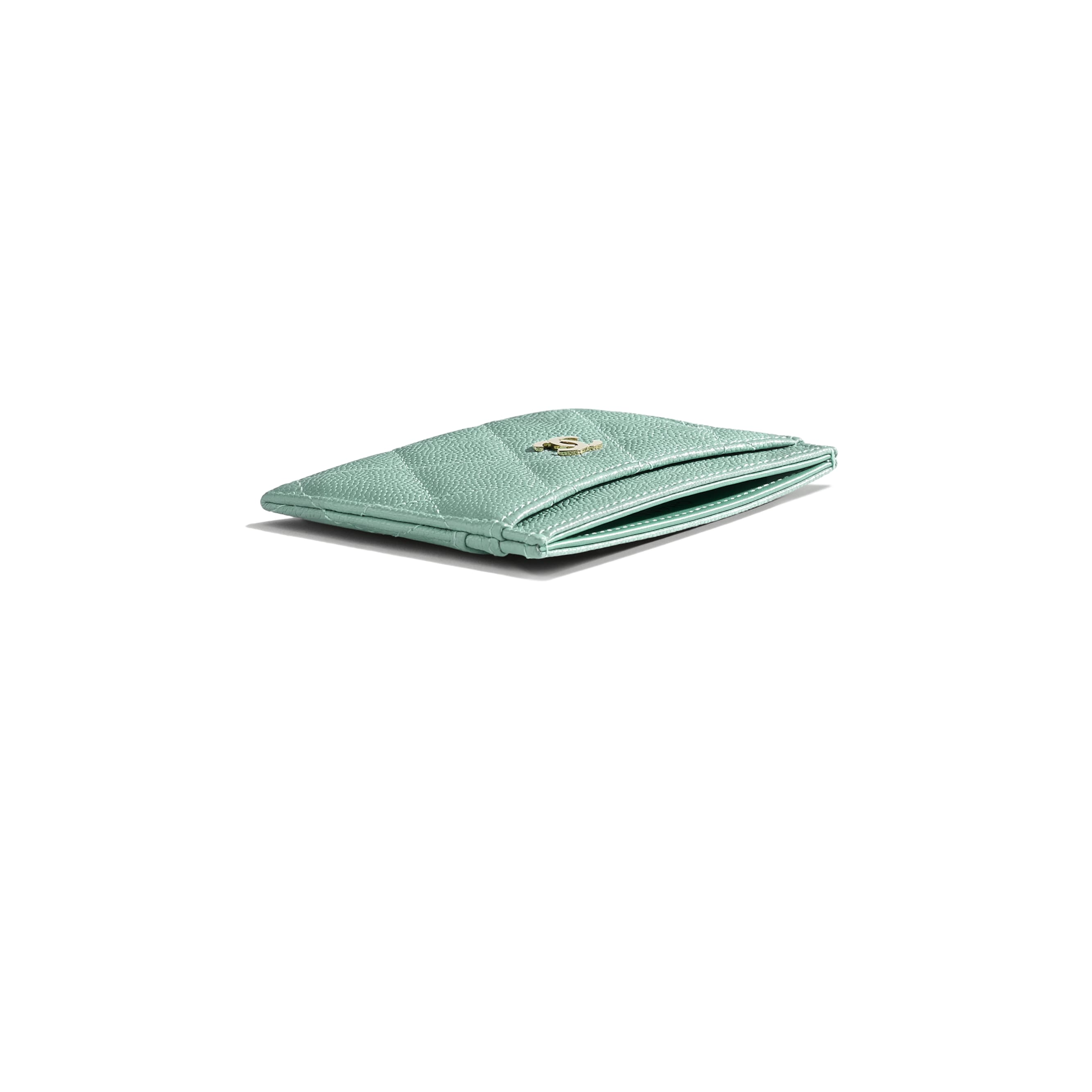 Classic Card Holder - Blue - Grained Calfskin & Gold-Tone Metal - Extra view - see standard sized version