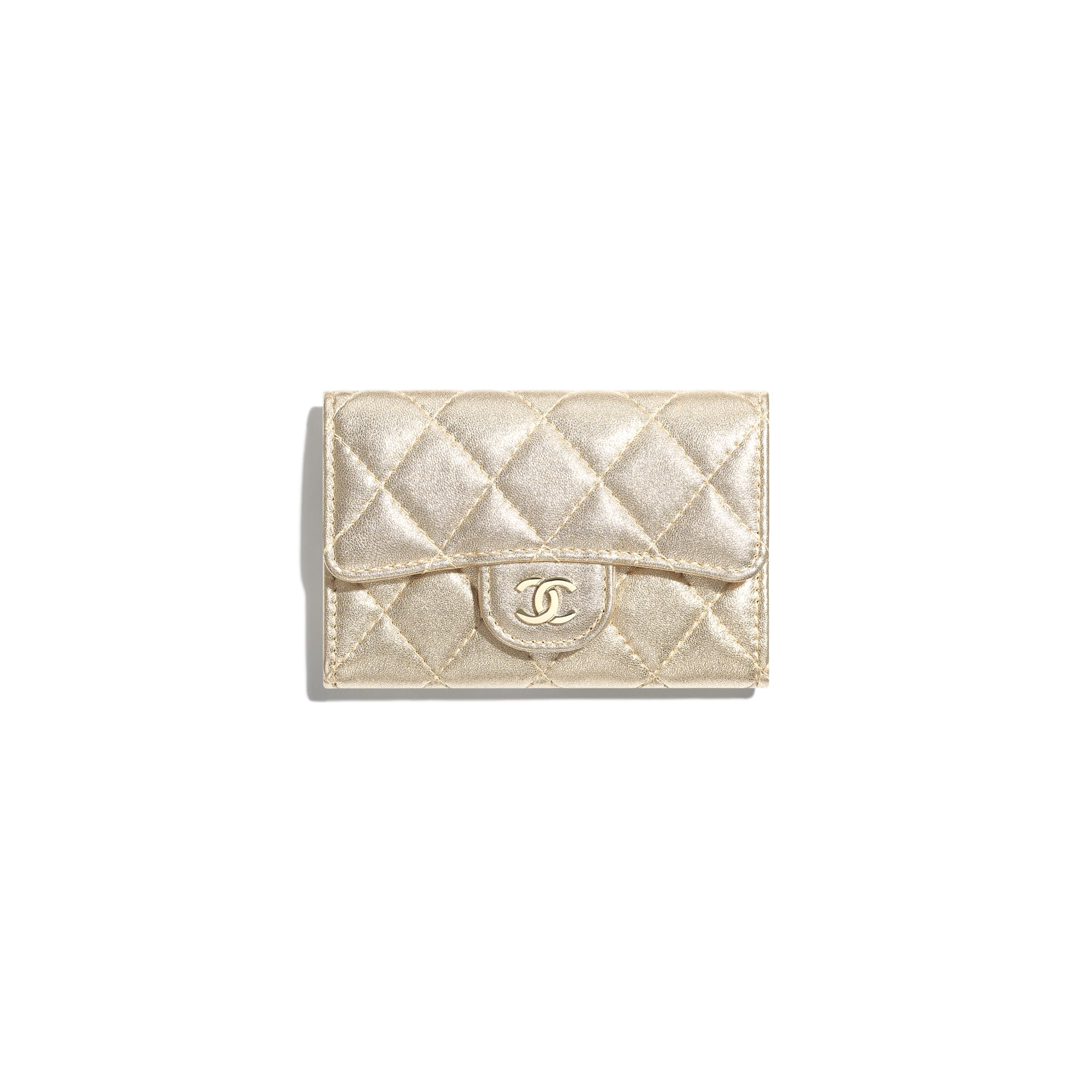 Classic Card Holder - Gold - Metallic Lambskin & Gold Metal - CHANEL - Default view - see standard sized version