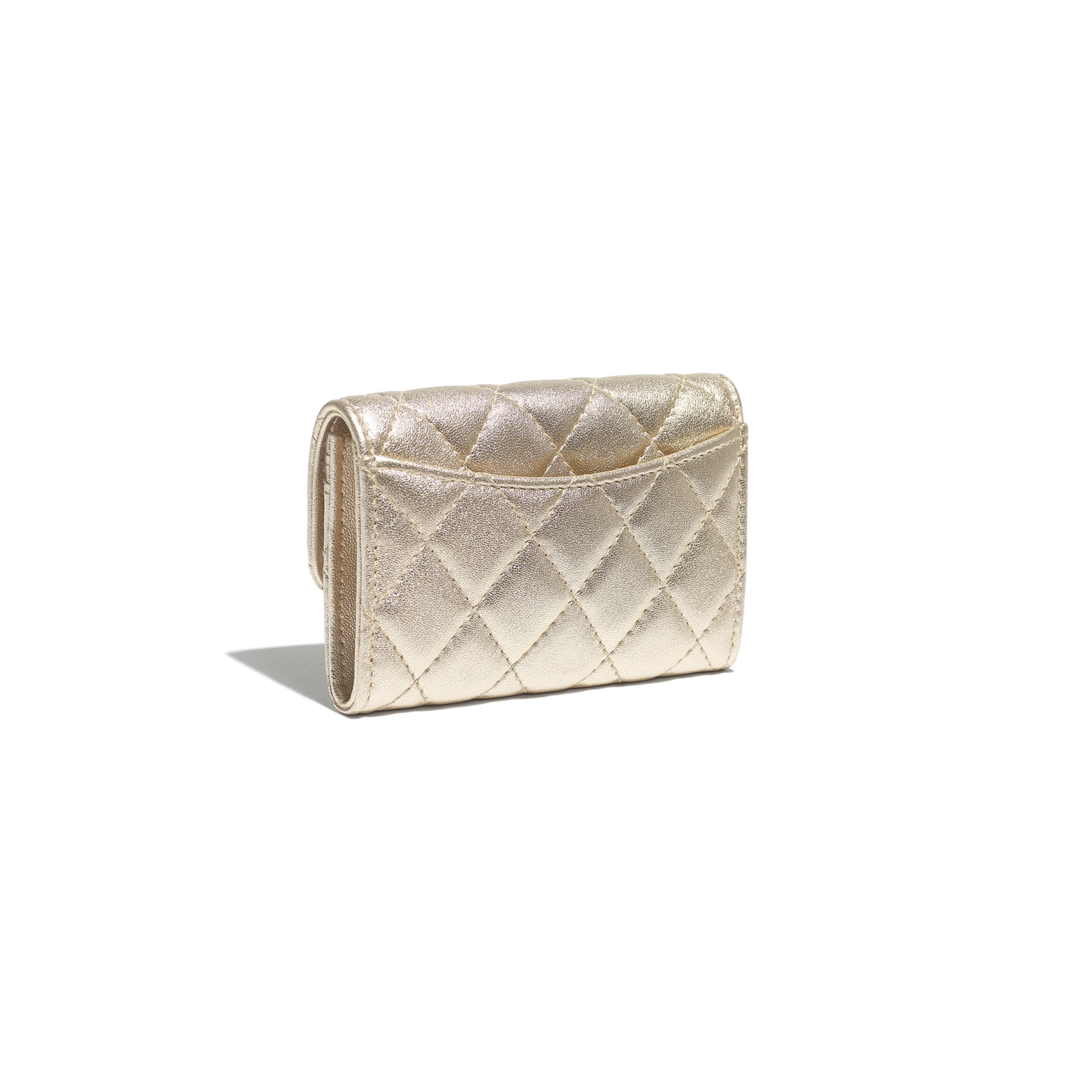 Classic Card Holder - Gold - Metallic Lambskin & Gold Metal - CHANEL - Extra view - see standard sized version