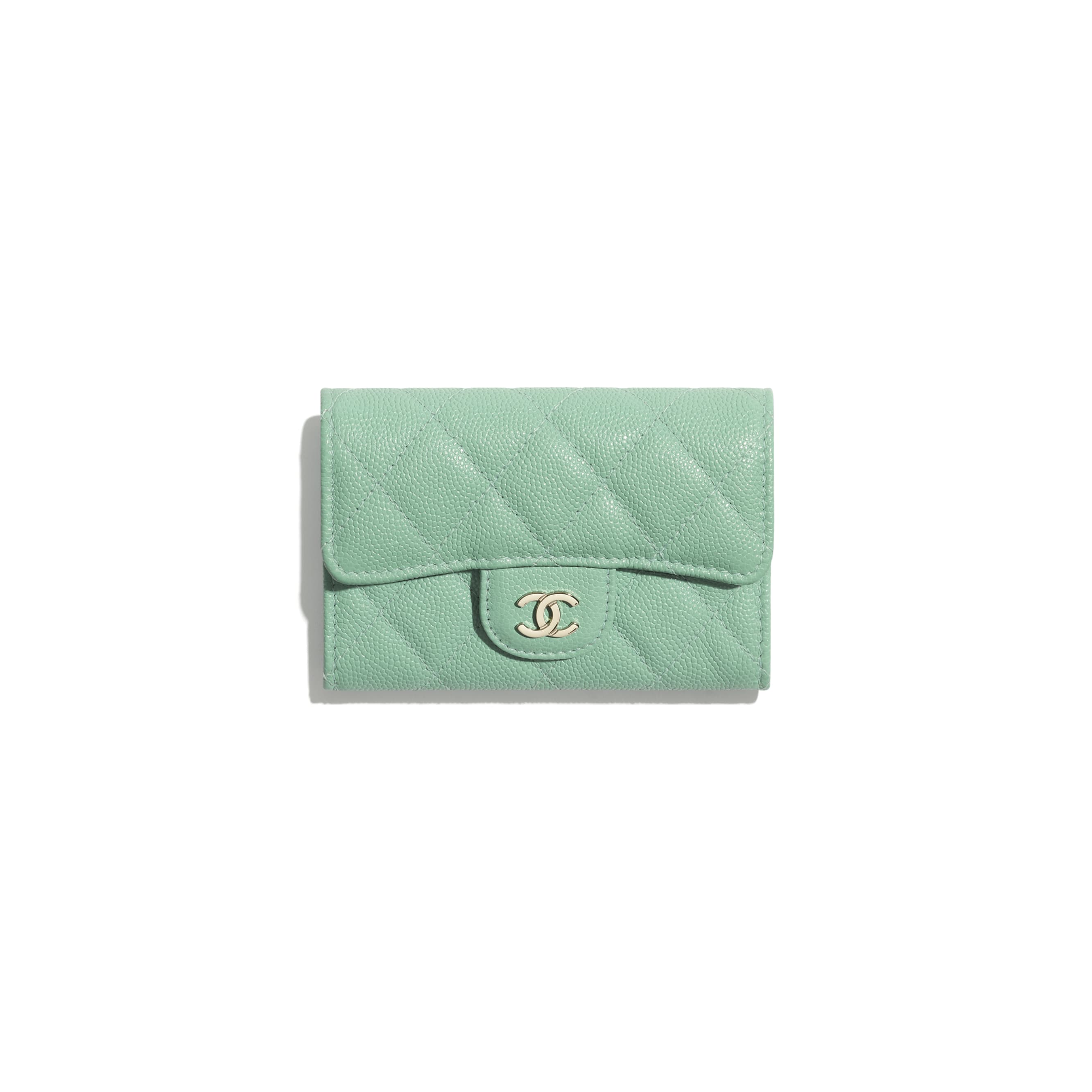 Classic Card Holder - Green - Grained Calfskin & Gold-Tone Metal - CHANEL - Default view - see standard sized version