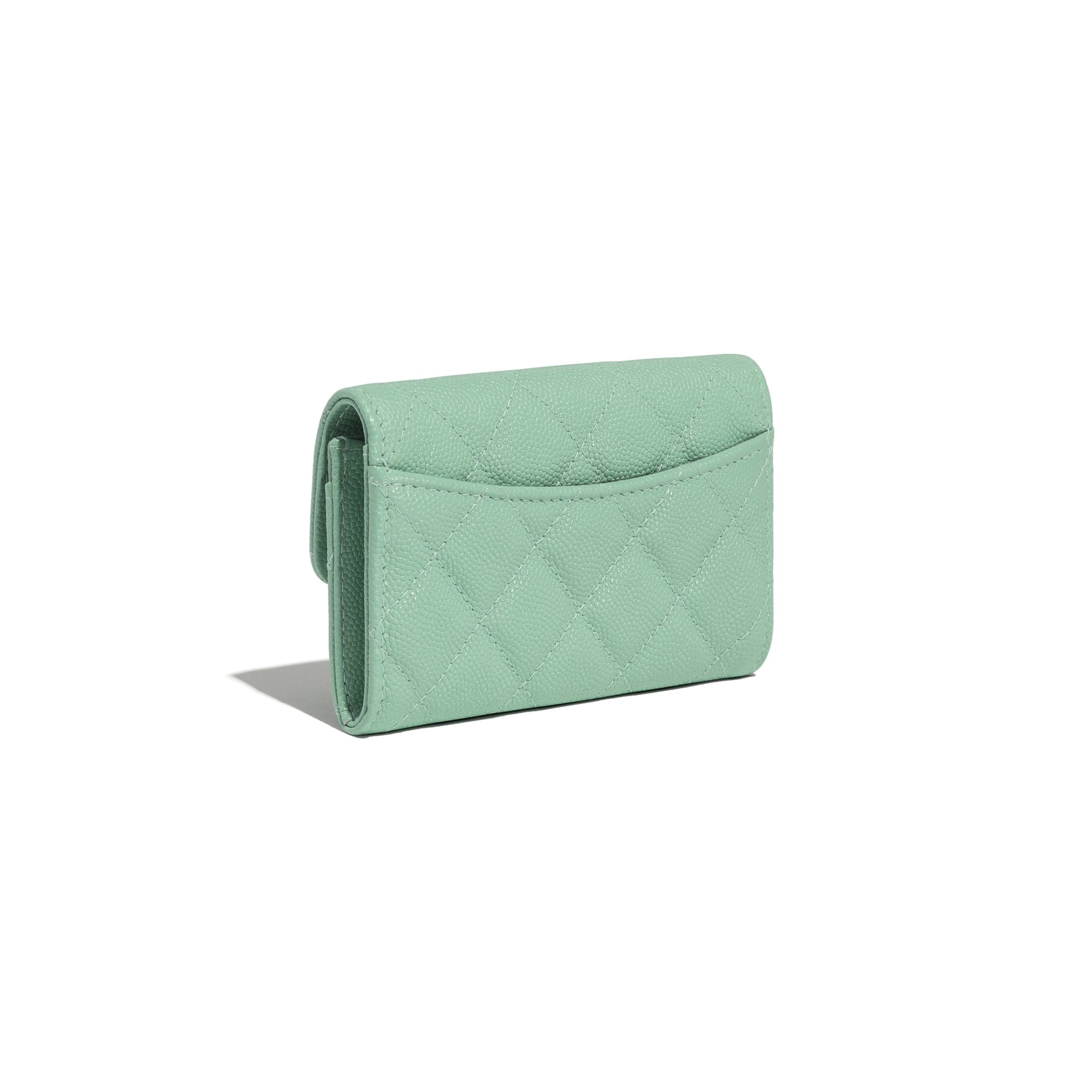 Classic Card Holder - Green - Grained Calfskin & Gold-Tone Metal - CHANEL - Extra view - see standard sized version