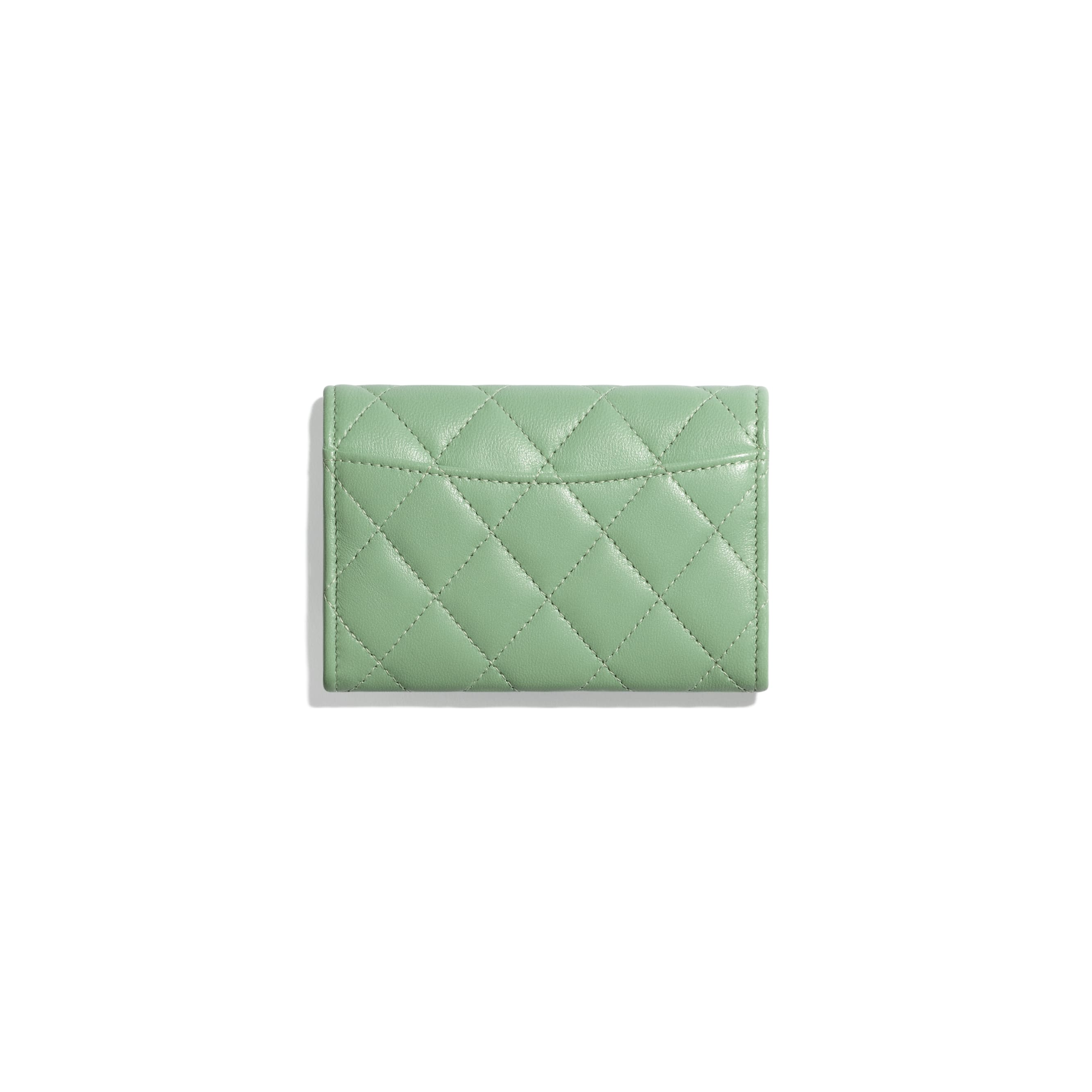 Classic Card Holder - Green - Lambskin - CHANEL - Alternative view - see standard sized version