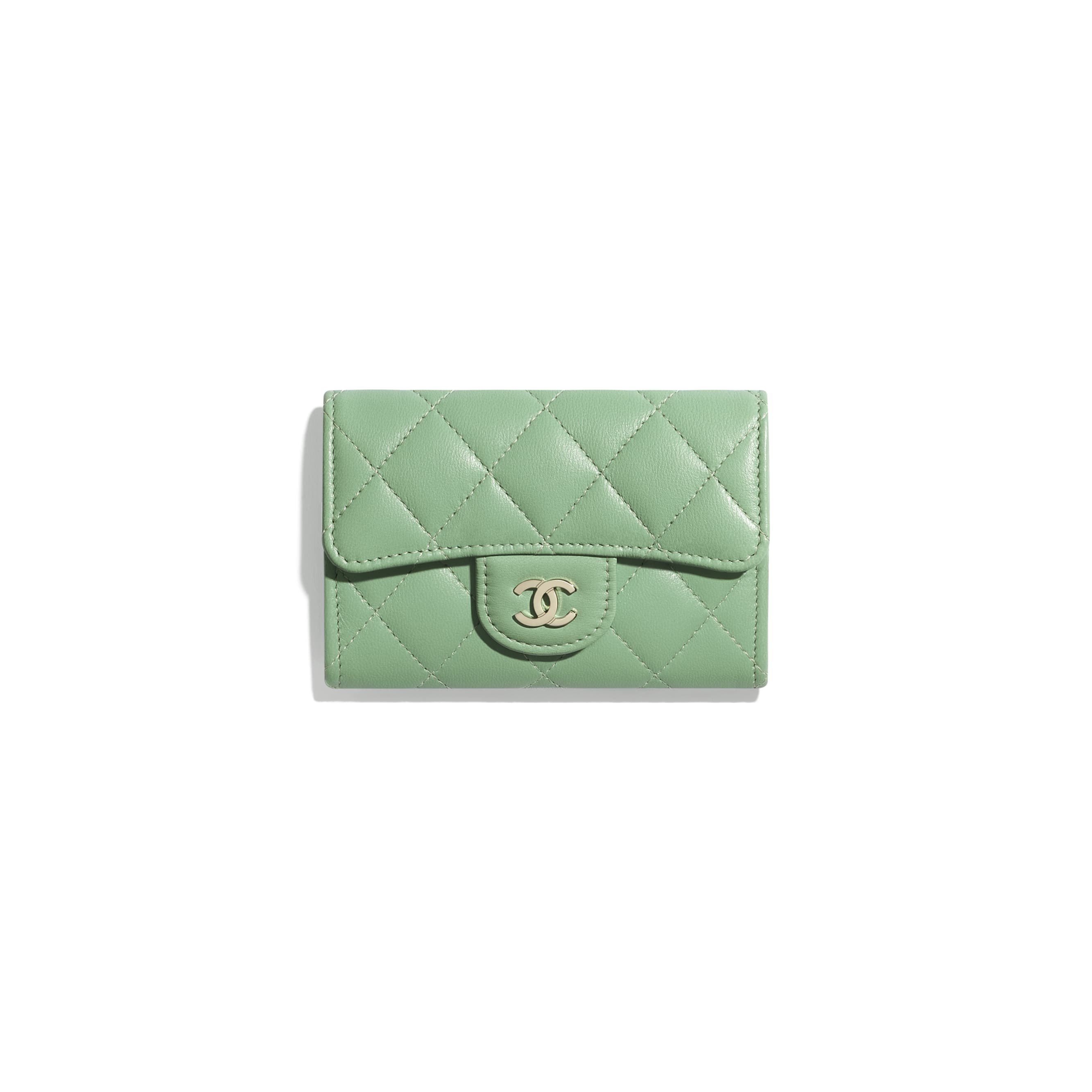Classic Card Holder - Green - Lambskin - CHANEL - Default view - see standard sized version