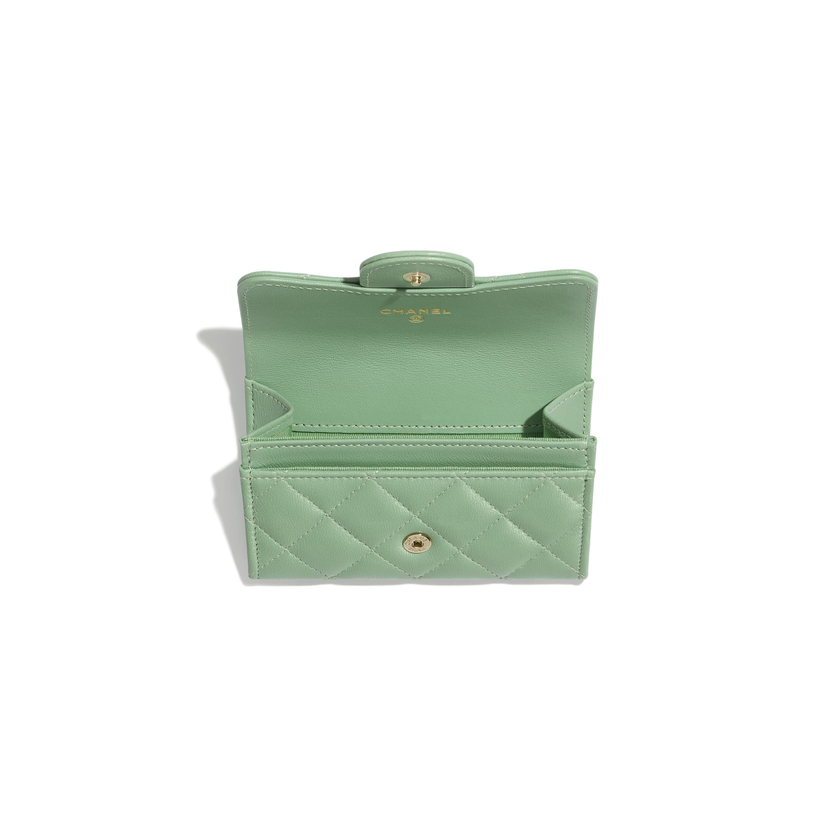 Classic Card Holder - Green - Lambskin - CHANEL - Other view - see standard sized version