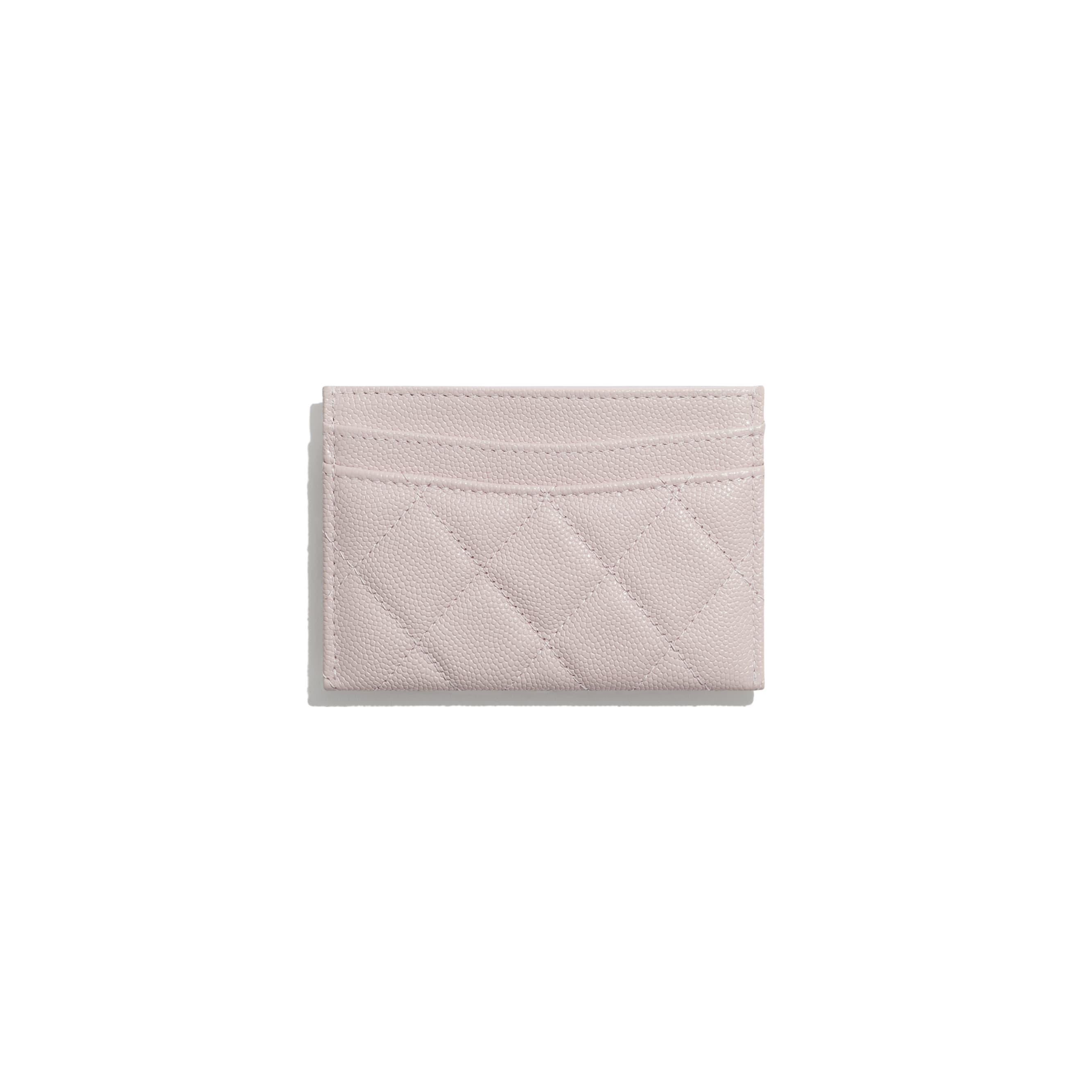 Визитница - Светло-розовый - Зернистая кожа теленка и золотистый металл - CHANEL - Альтернативный вид - посмотреть изображение стандартного размера