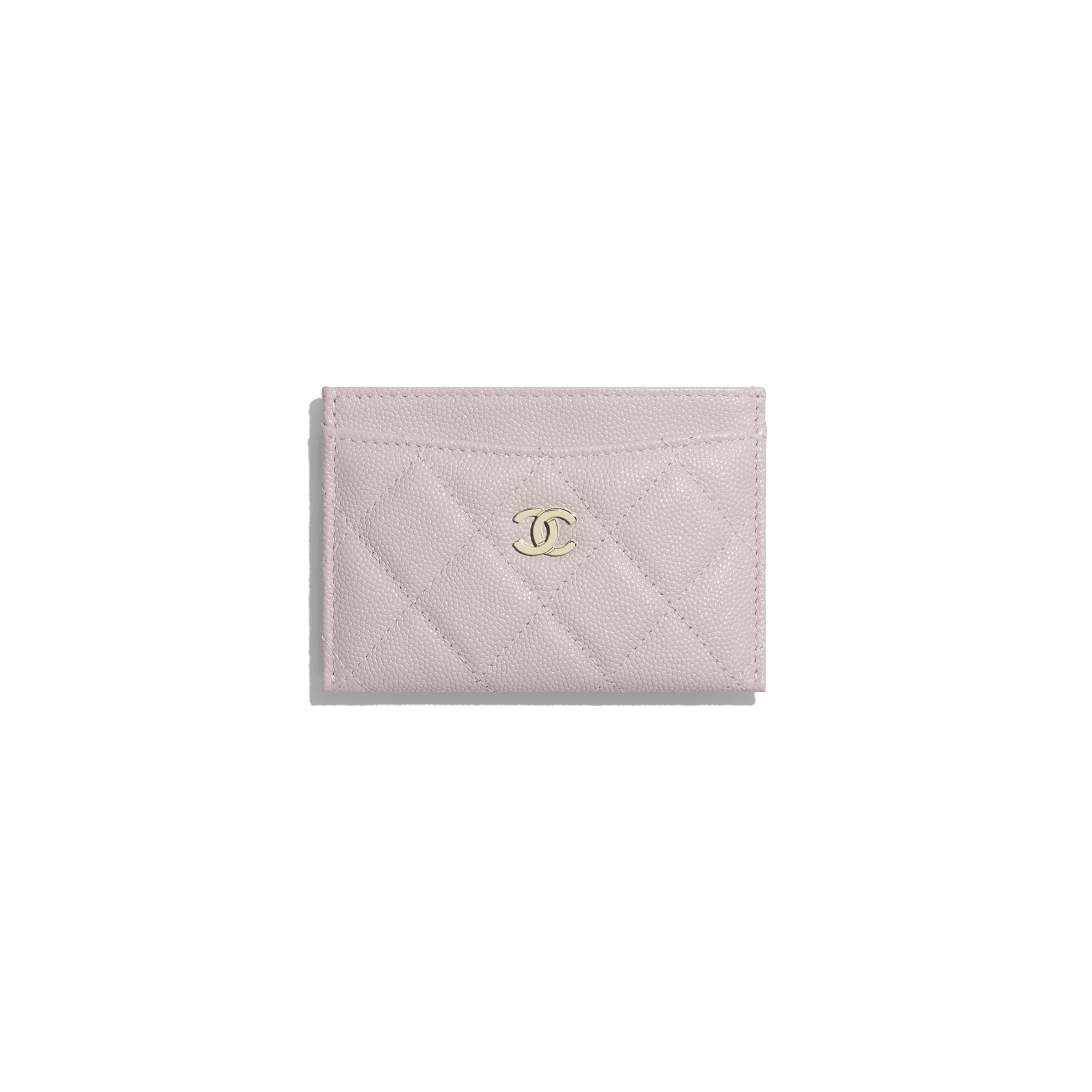 Classic Card Holder - Light Pink - Grained Calfskin & Gold-Tone Metal - CHANEL - Default view - see standard sized version