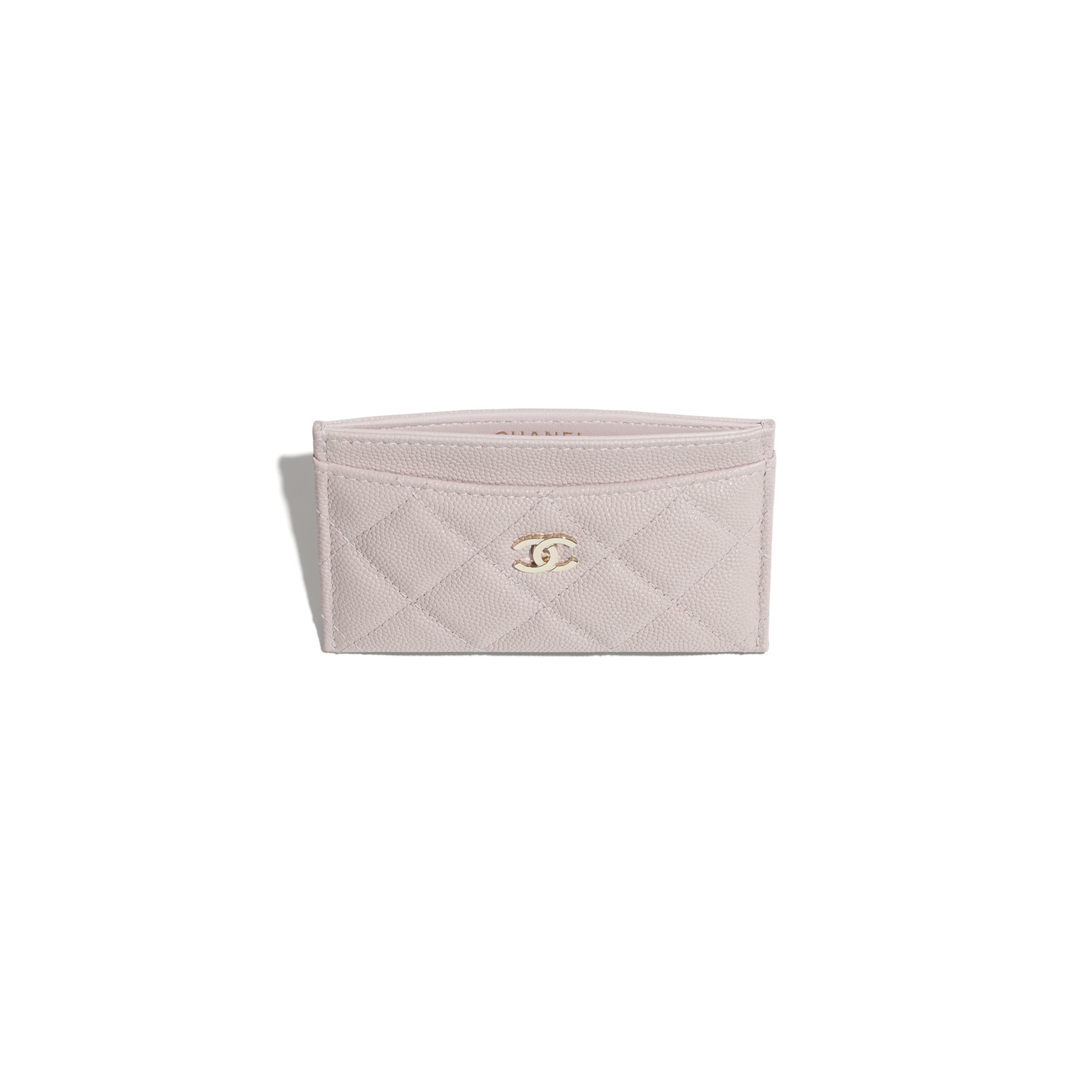 Classic Card Holder - Light Pink - Grained Calfskin & Gold-Tone Metal - CHANEL - Other view - see standard sized version