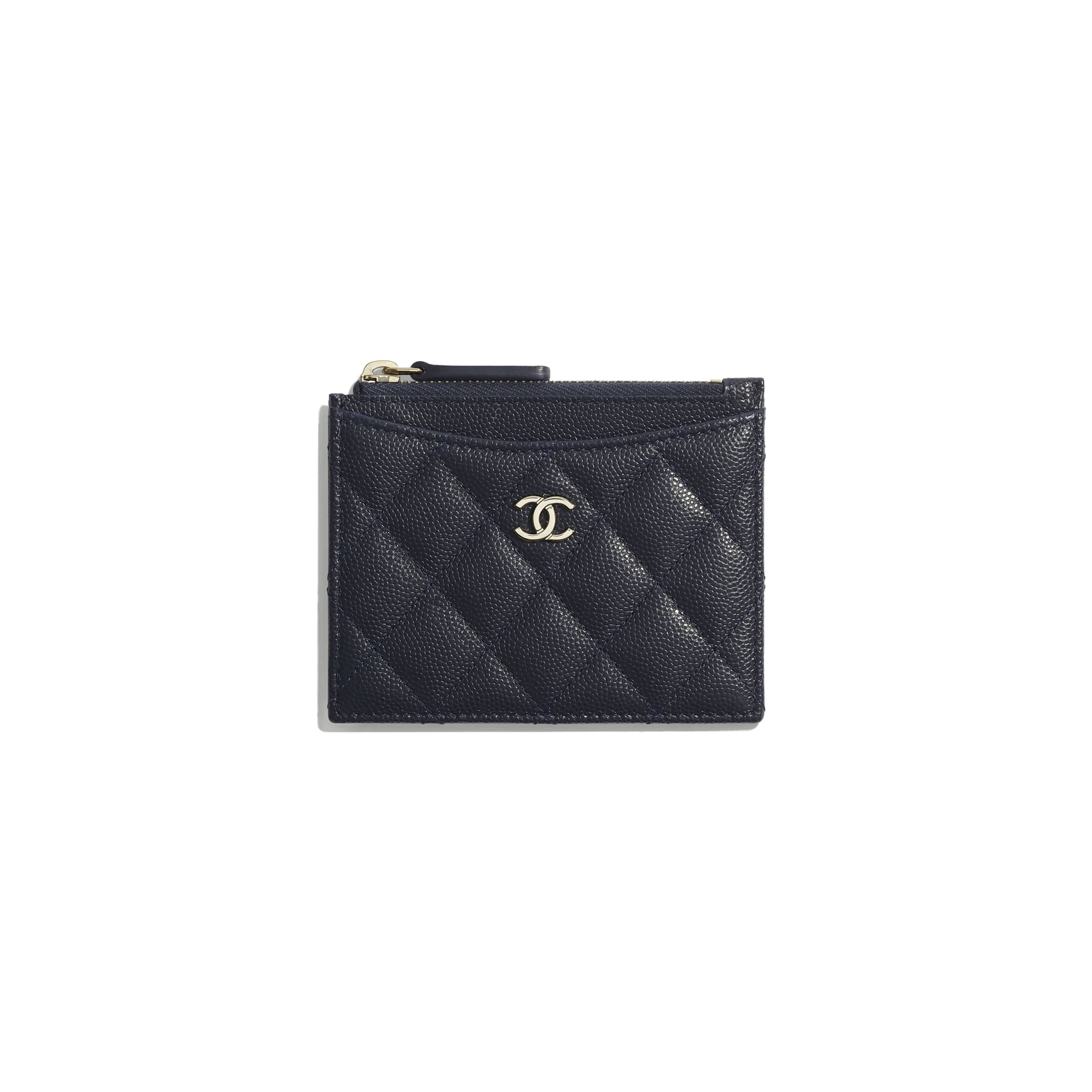 Classic Card Holder - Navy Blue - Grained Calfskin & Gold-Tone Metal - Default view - see standard sized version