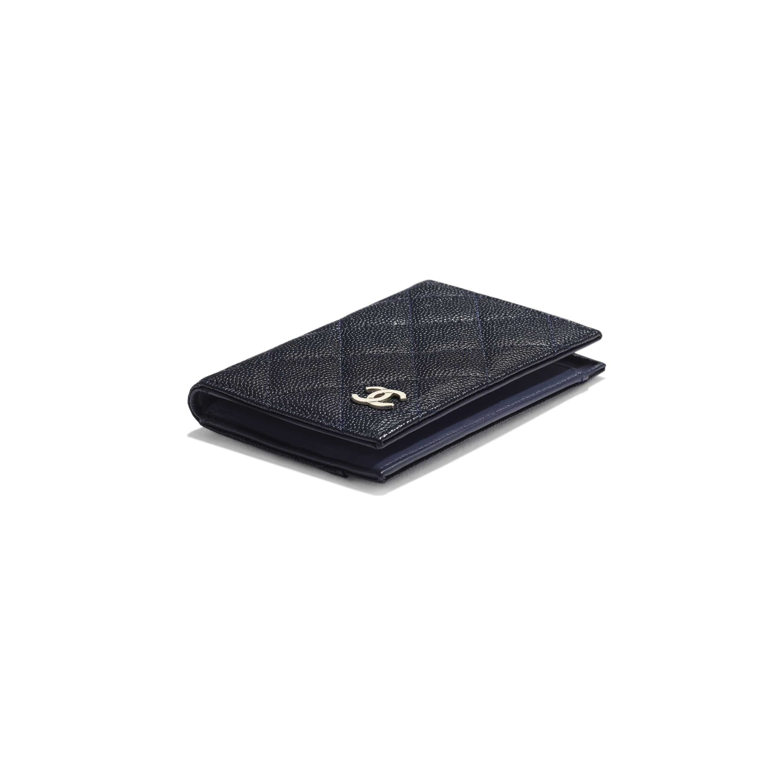Classic Card Holder - Navy Blue - Grained Calfskin & Gold-Tone Metal - Extra view - see standard sized version