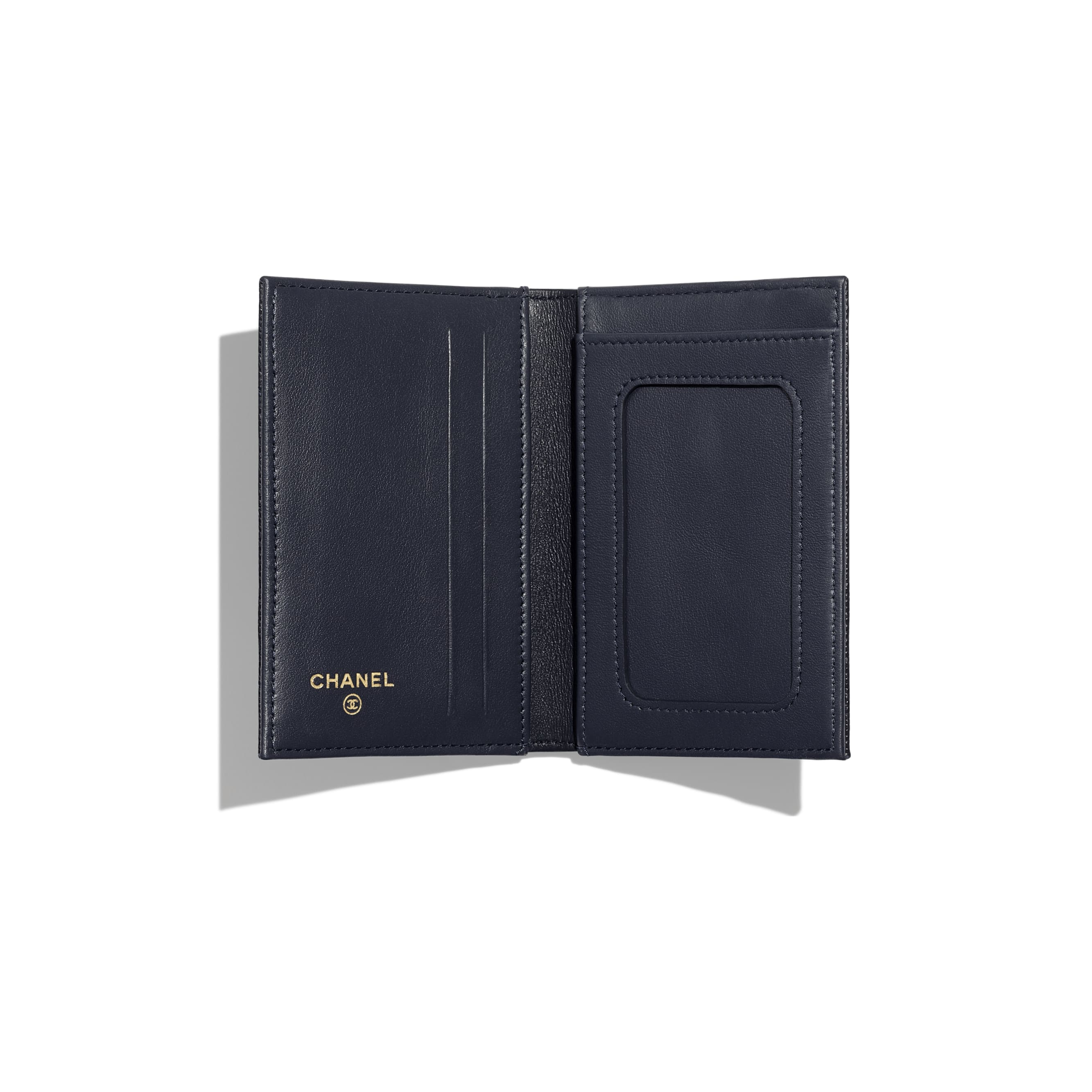 Classic Card Holder - Navy Blue - Grained Calfskin & Gold-Tone Metal - Other view - see standard sized version