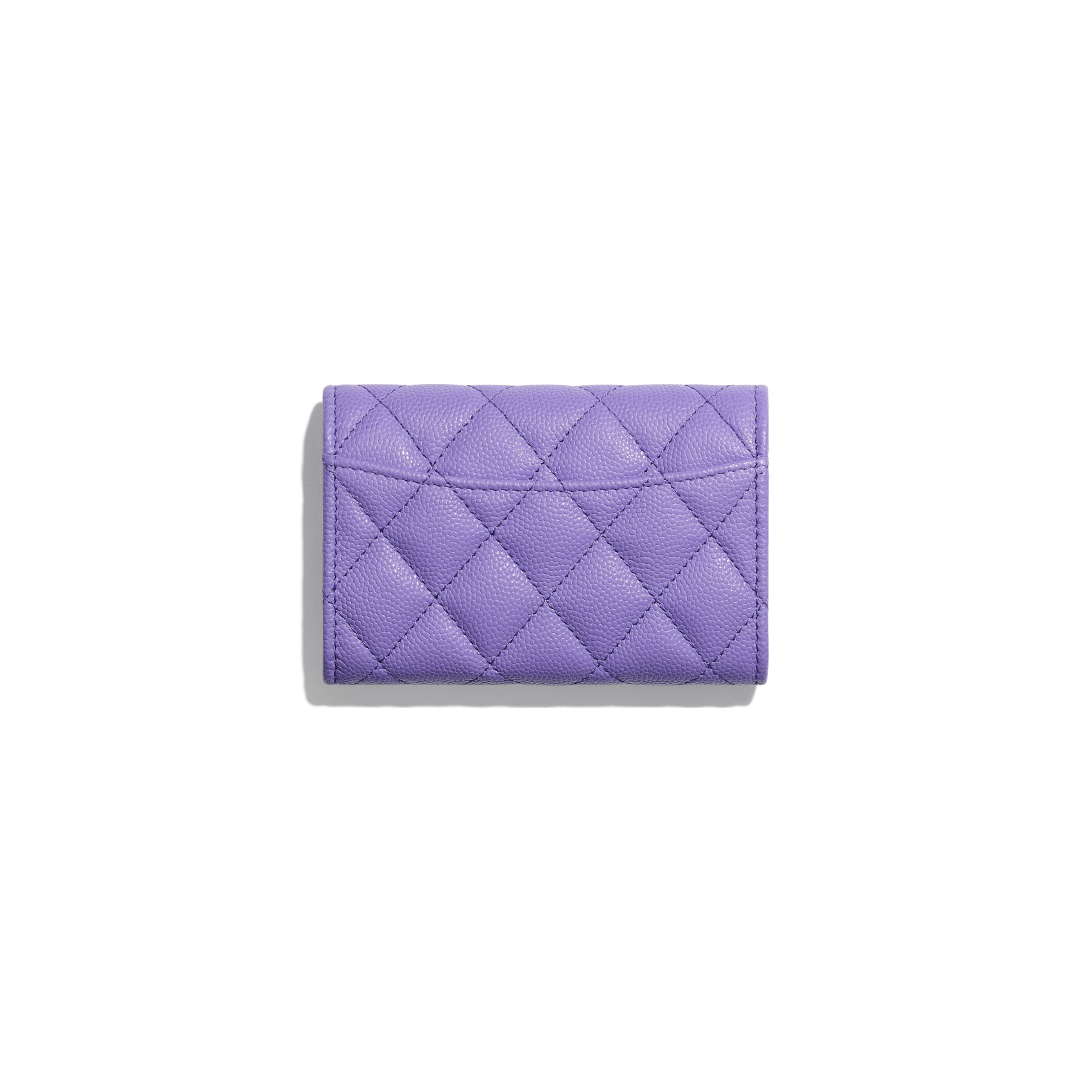 Classic Card Holder - Purple - Grained Calfskin & Gold-Tone Metal - CHANEL - Alternative view - see standard sized version