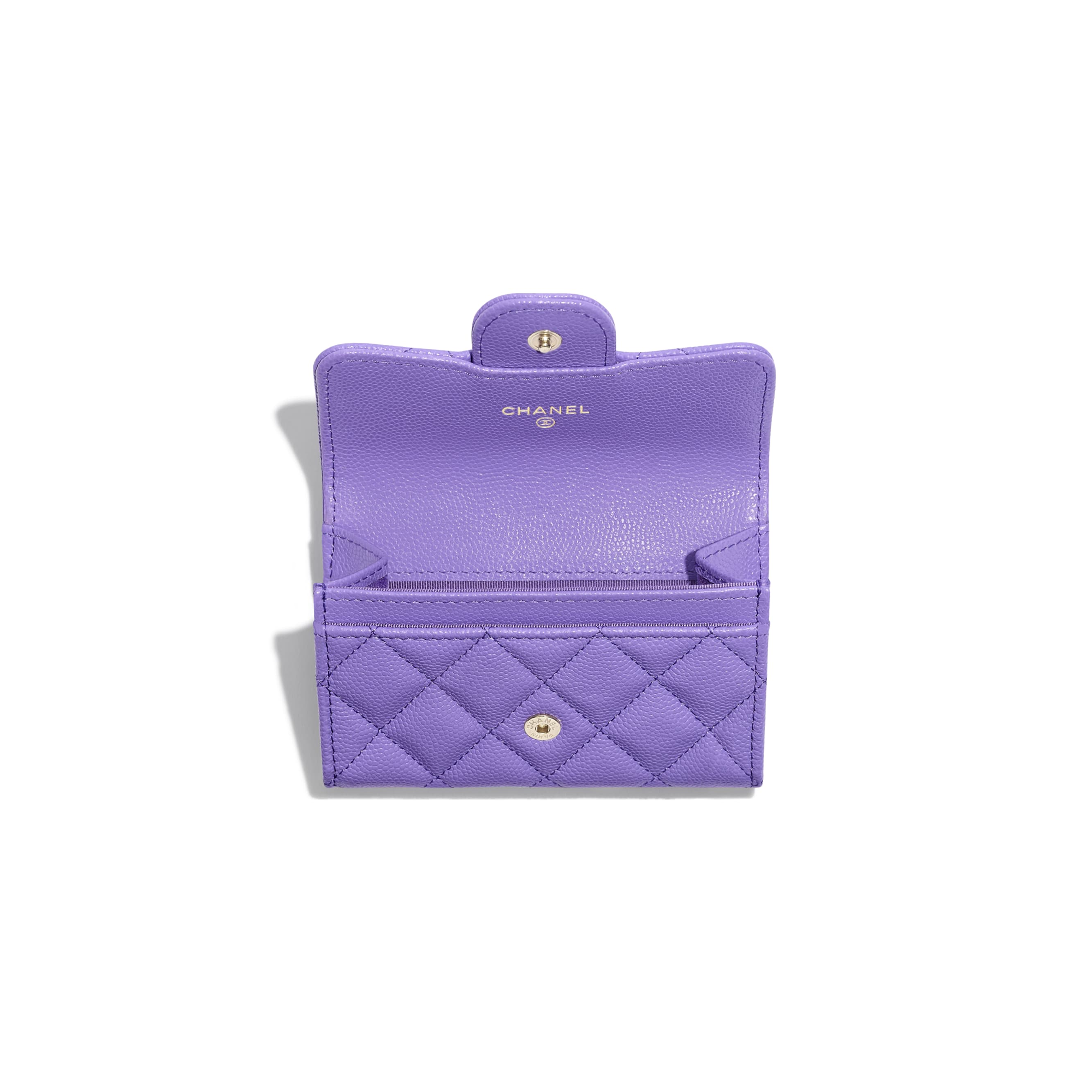 Classic Card Holder - Purple - Grained Calfskin & Gold-Tone Metal - CHANEL - Other view - see standard sized version