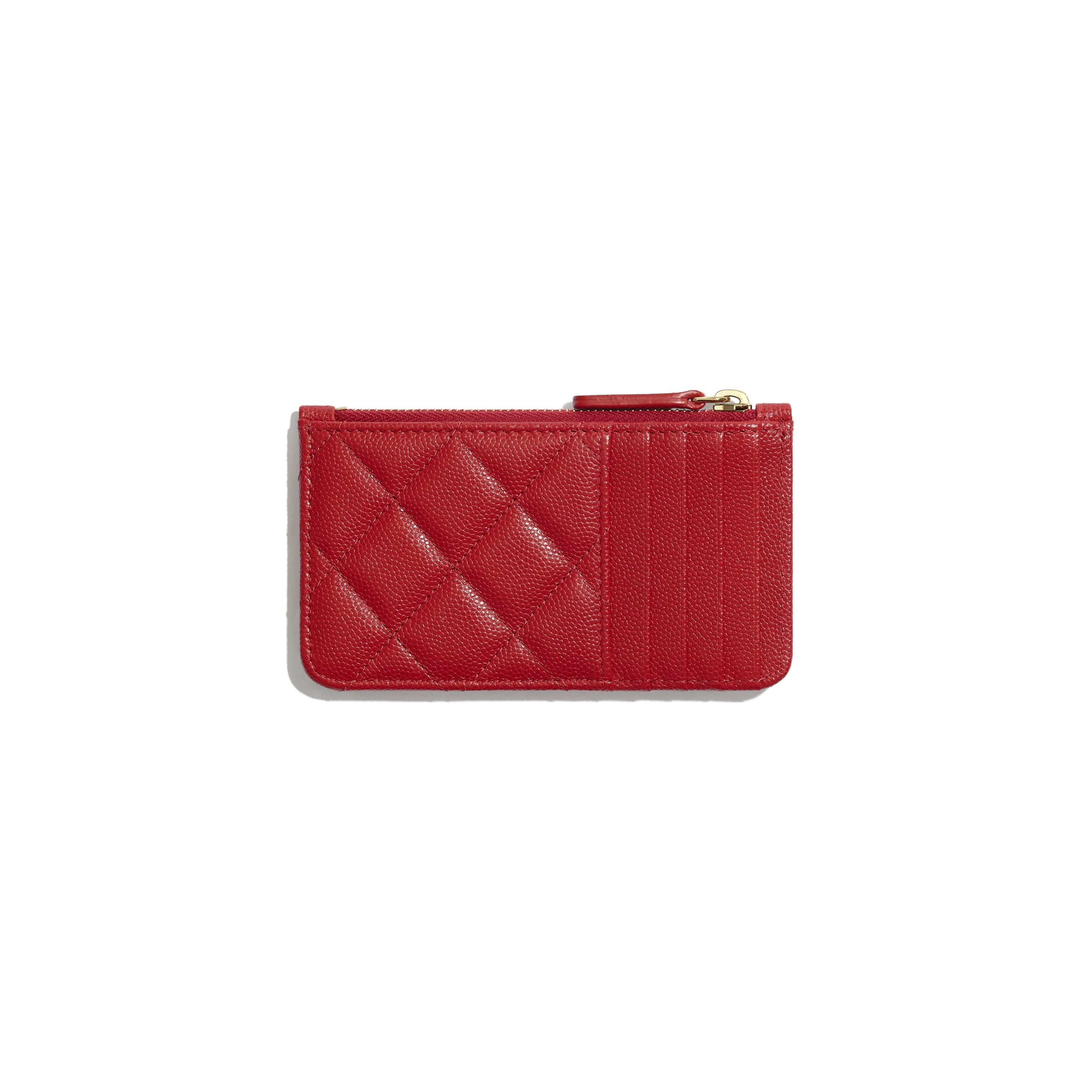 Classic Card Holder - Red - Grained Calfskin & Gold-Tone Metal - Alternative view - see standard sized version