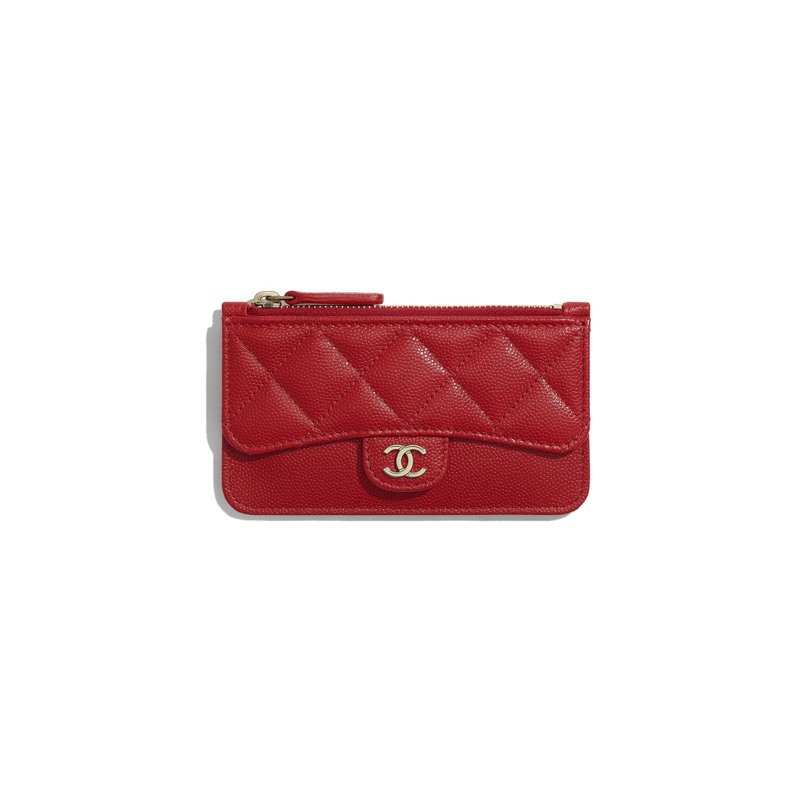 Classic Card Holder - Red - Grained Calfskin & Gold-Tone Metal - Default view - see standard sized version