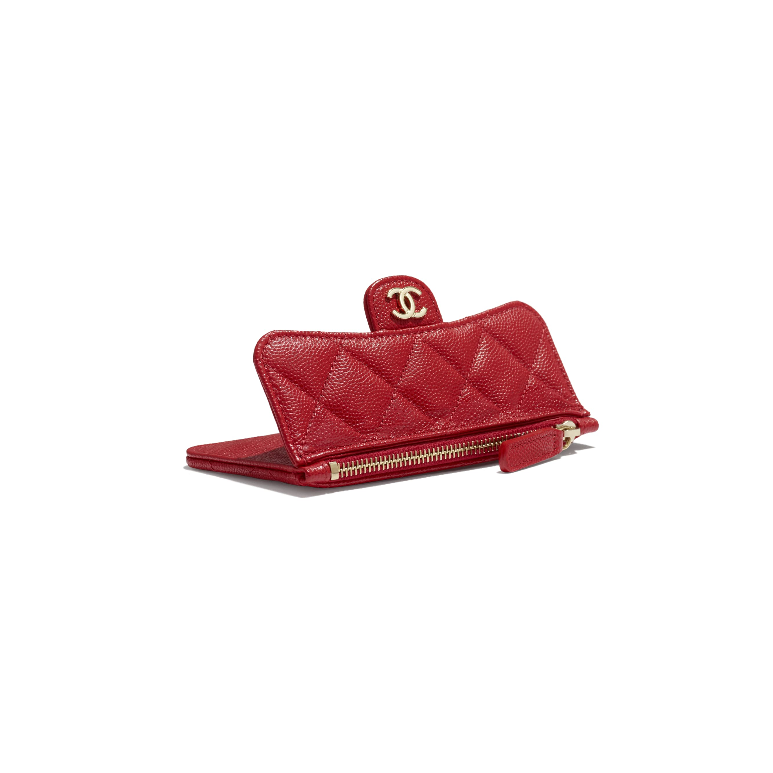 Classic Card Holder - Red - Grained Calfskin & Gold-Tone Metal - Extra view - see standard sized version