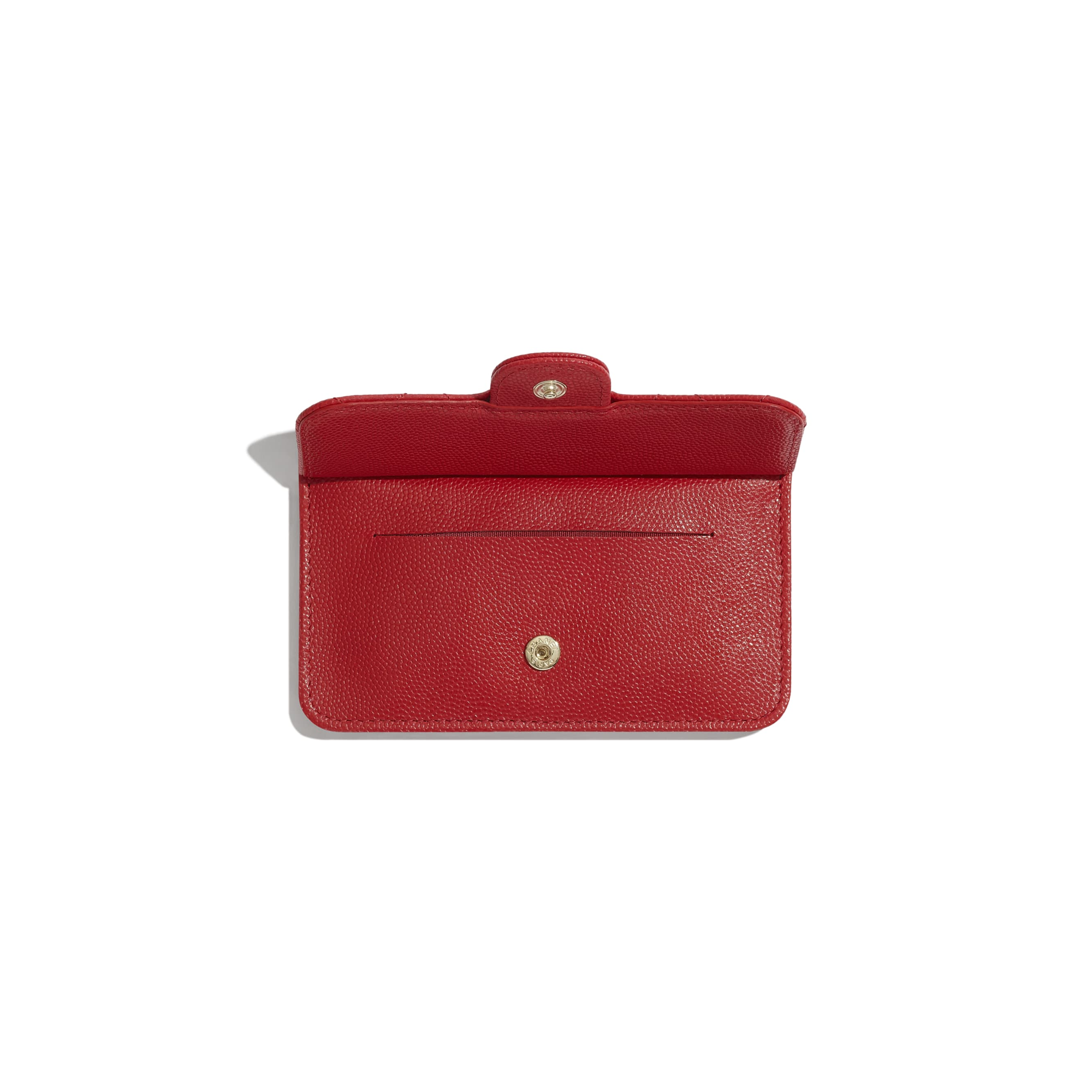 Classic Card Holder - Red - Grained Calfskin & Gold-Tone Metal - Other view - see standard sized version