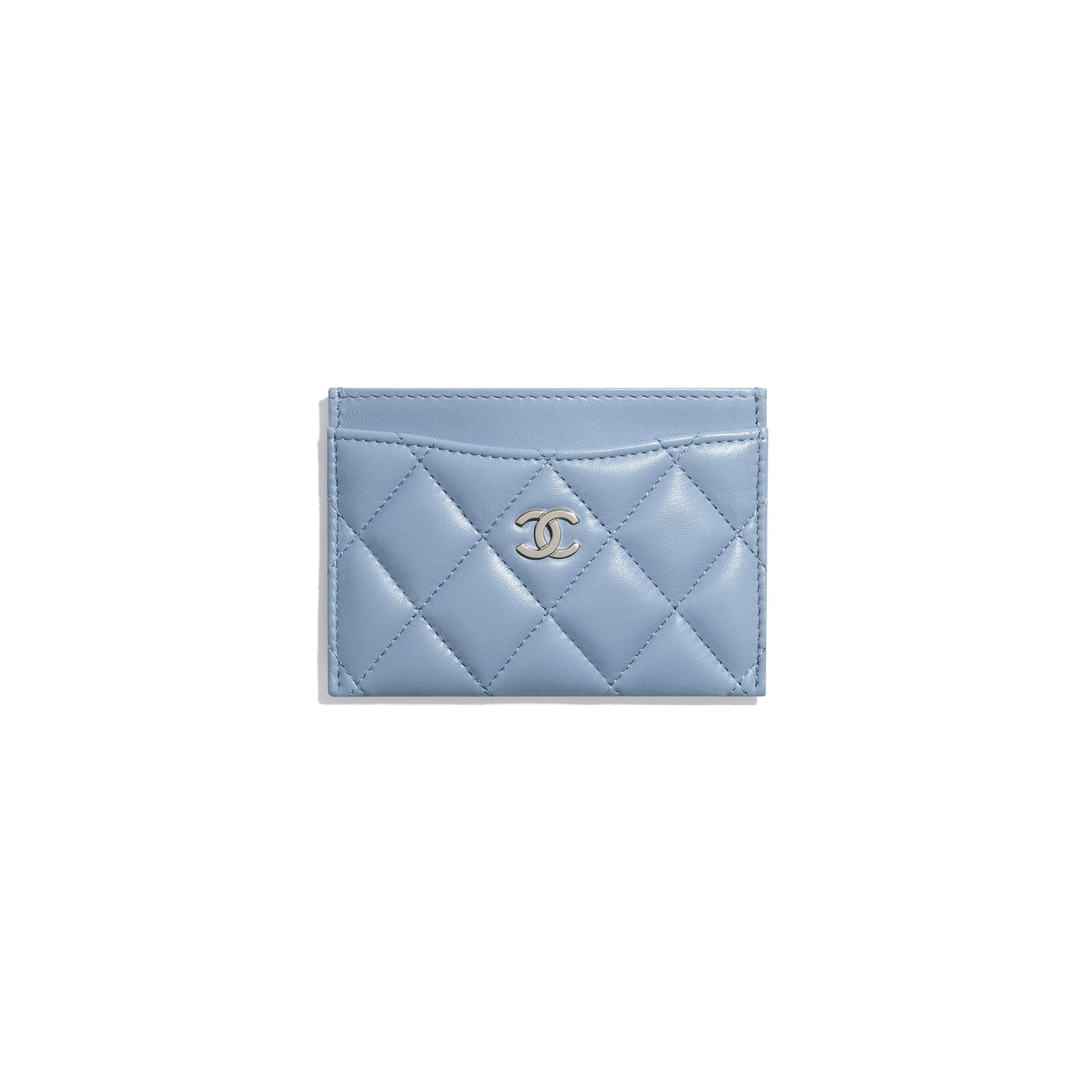 Classic Card Holder - Sky Blue - Lambskin - CHANEL - Default view - see standard sized version