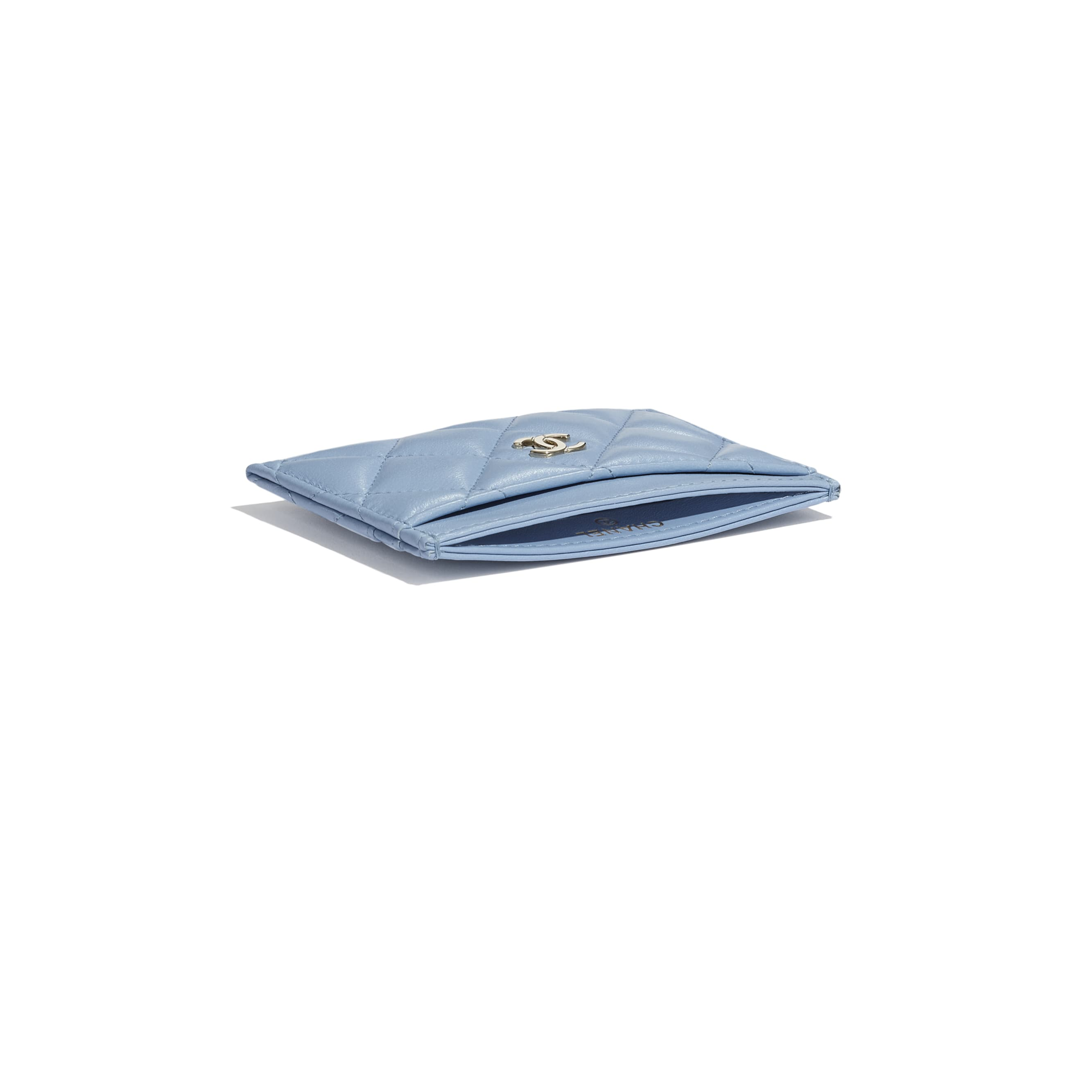 Classic Card Holder - Sky Blue - Lambskin - CHANEL - Extra view - see standard sized version