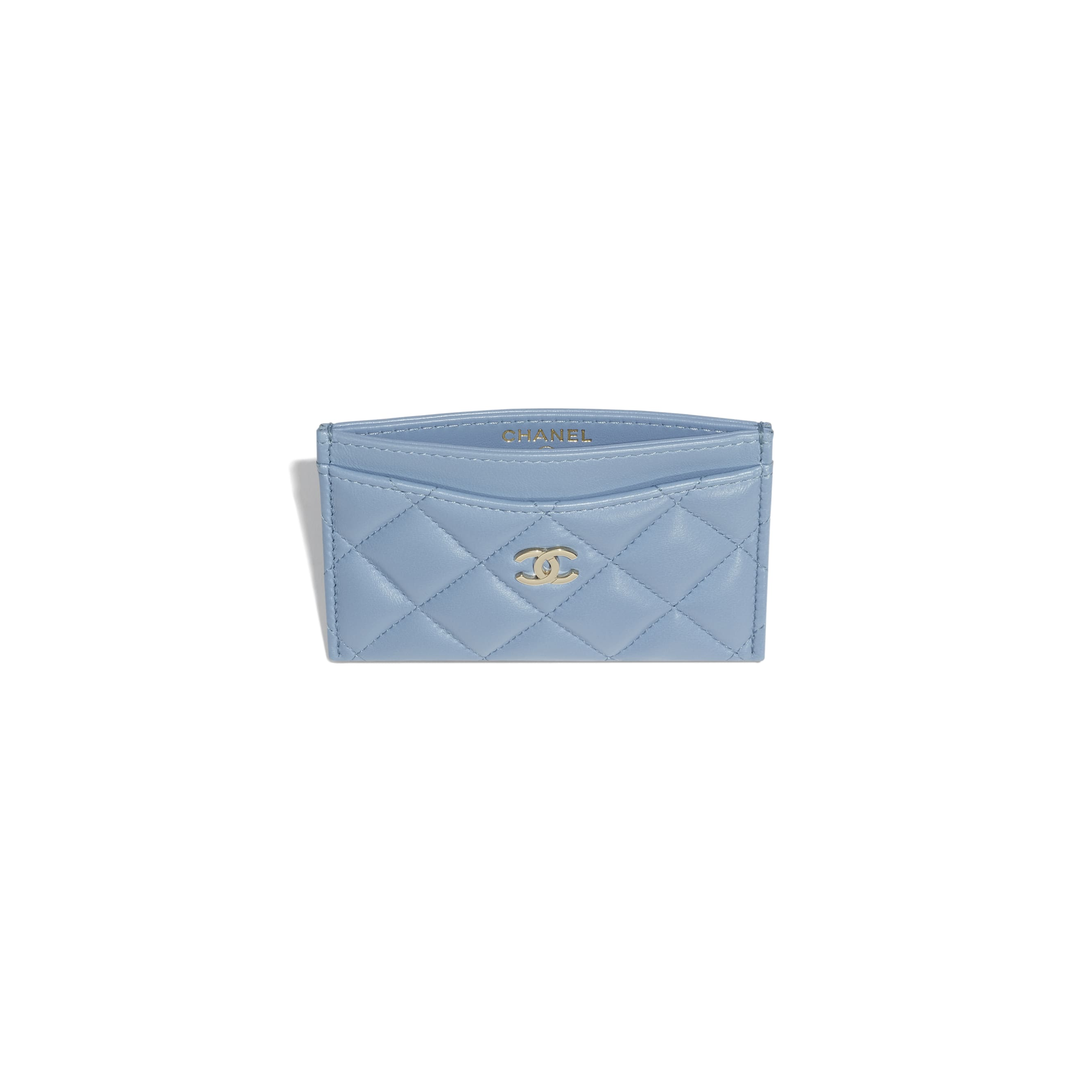 Classic Card Holder - Sky Blue - Lambskin - CHANEL - Other view - see standard sized version