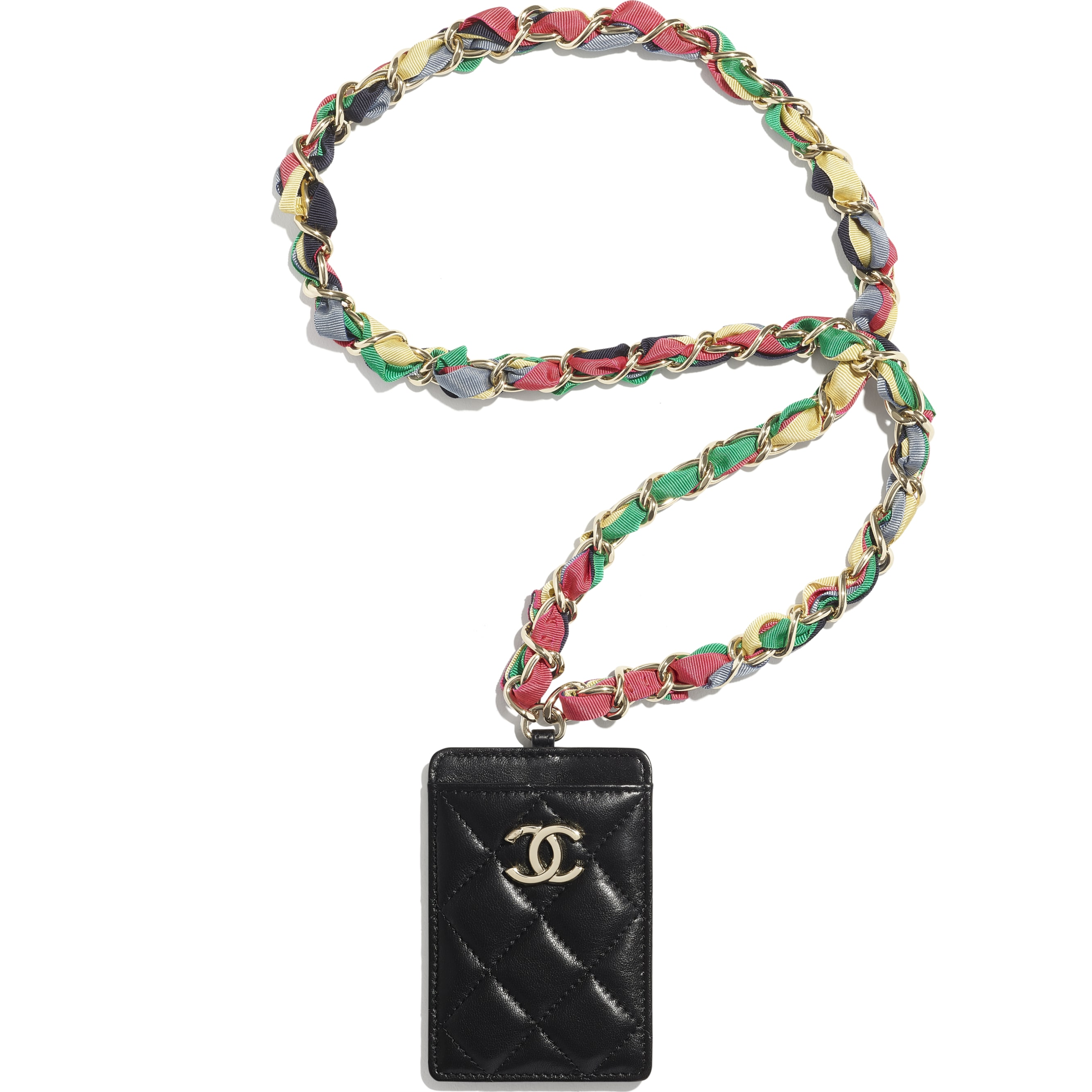 Classic Card Holder with Chain - Black - Shiny Lambskin, Ribbon & Gold-Tone Metal - CHANEL - Default view - see standard sized version