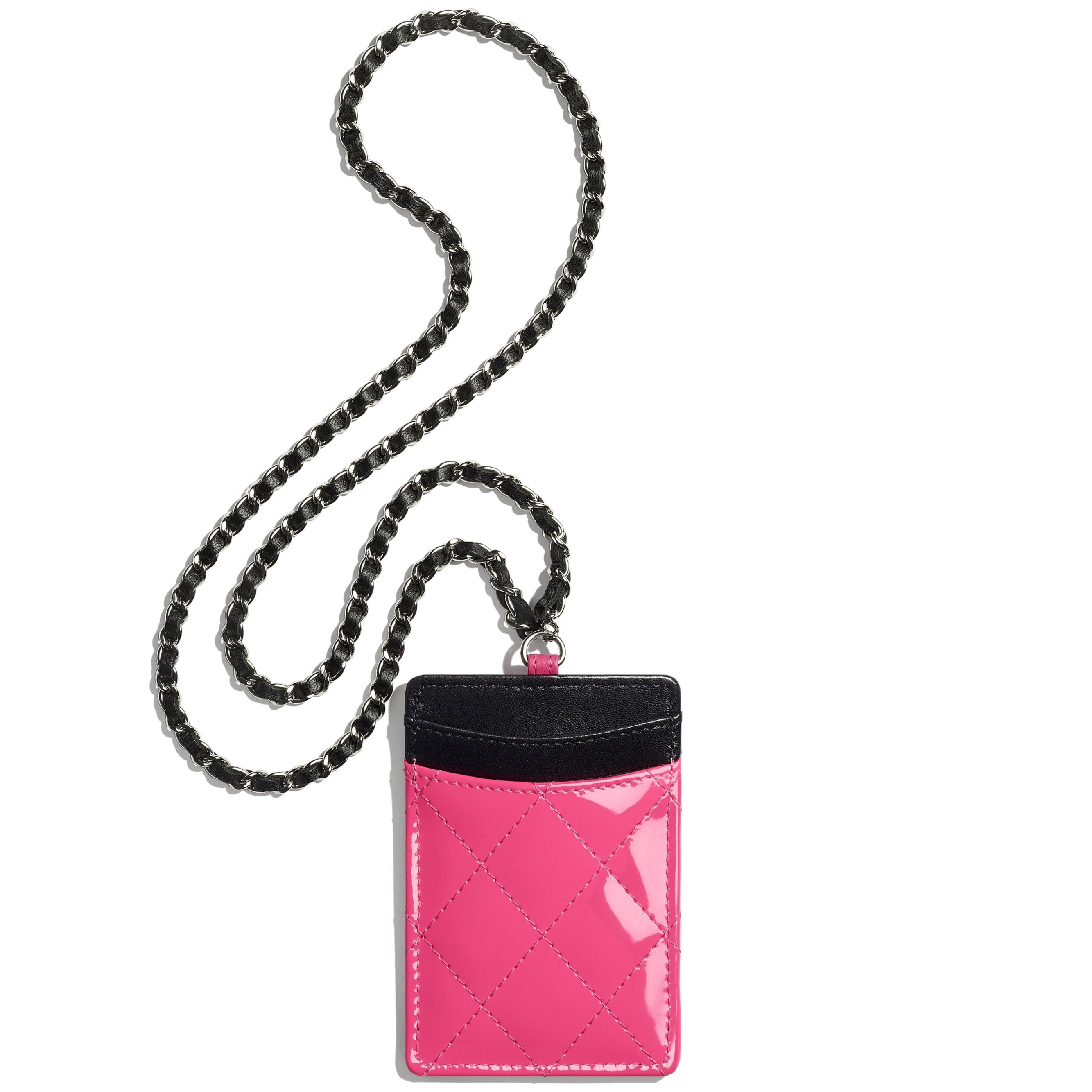 Classic Card Holder with Chain - Pink & Black - Patent Calfskin - Alternative view - see standard sized version