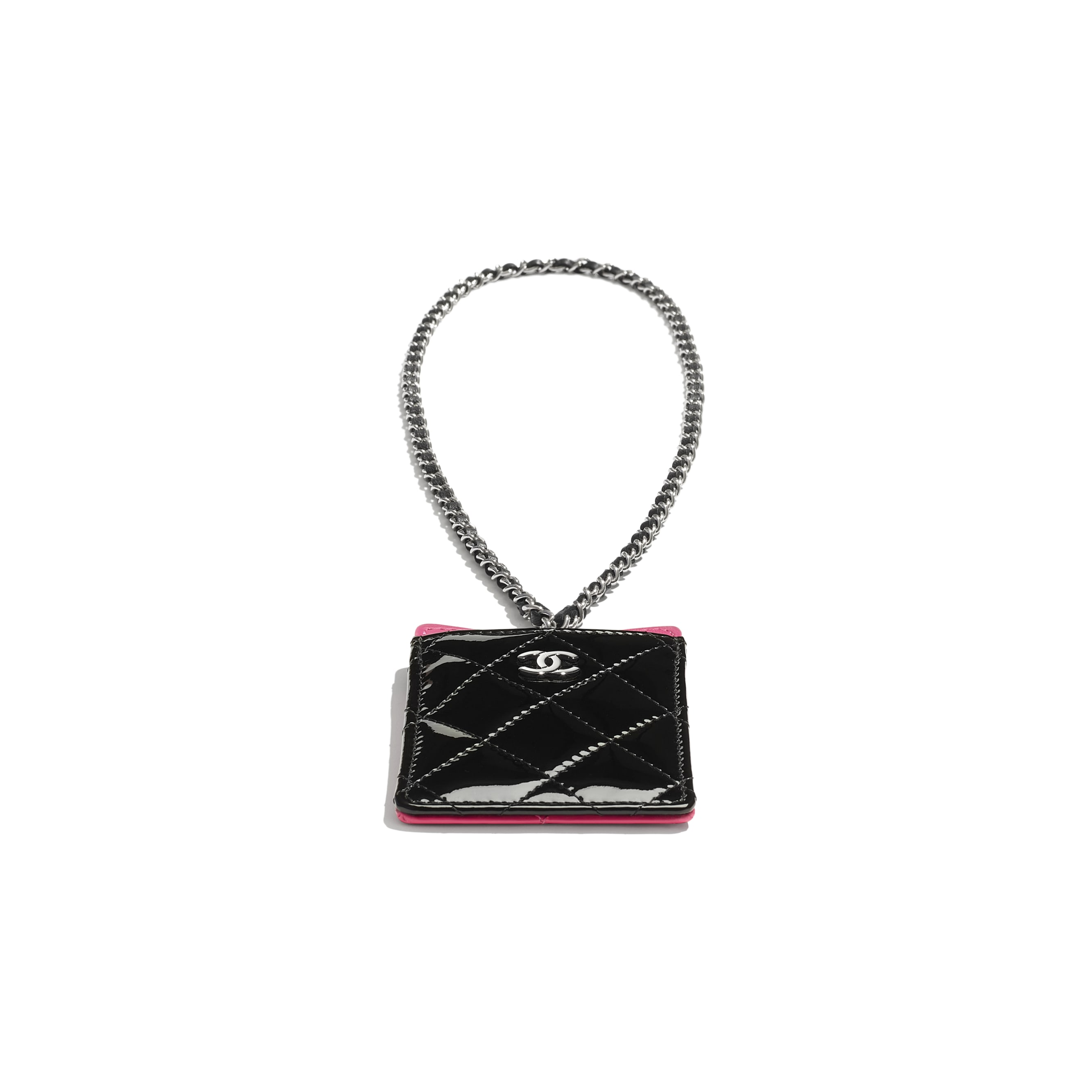 Classic Card Holder with Chain - Pink & Black - Patent Calfskin & Silver-Tone Metal - CHANEL - Extra view - see standard sized version
