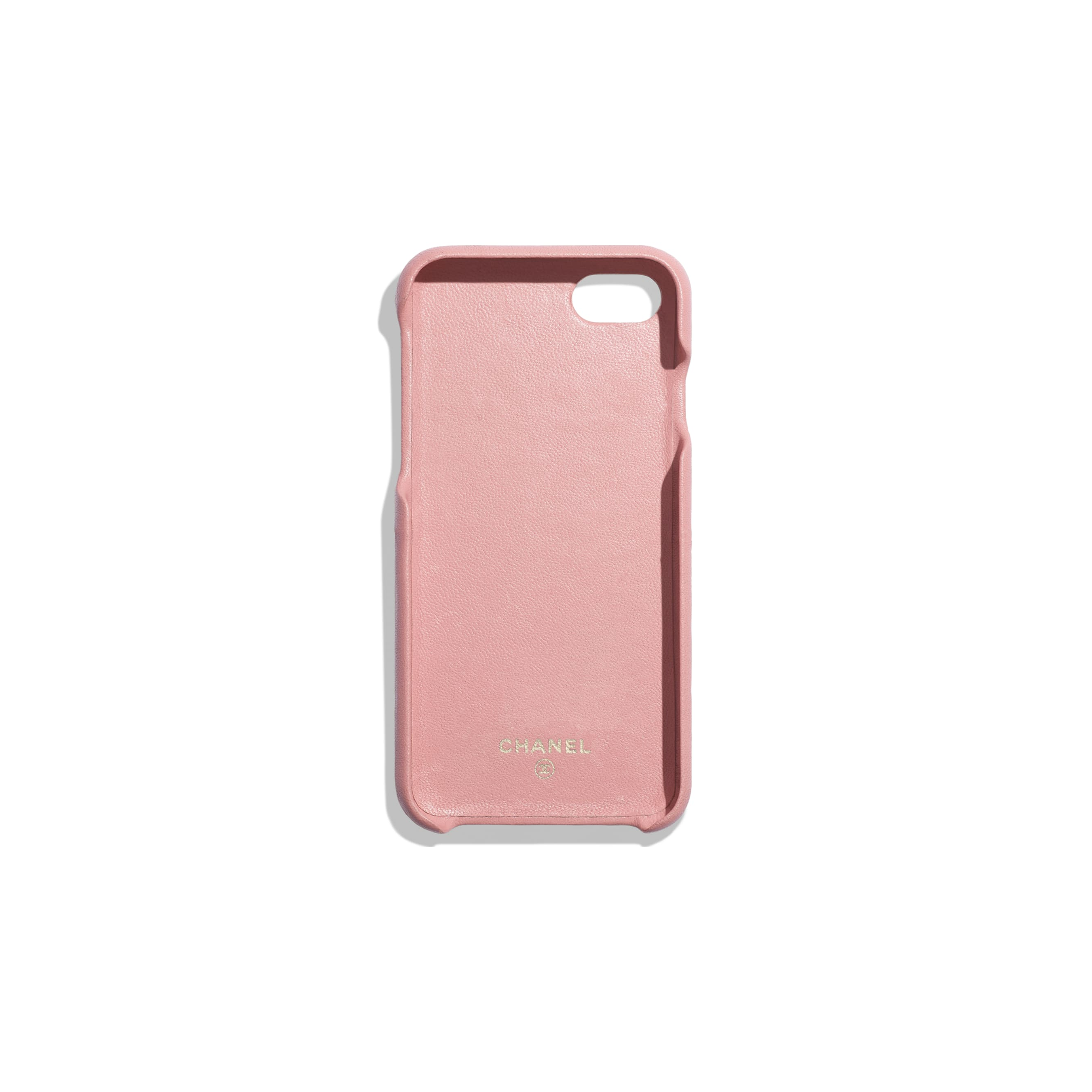 Classic Case for iPhone 7 & 8 - Pink - Lambskin & Gold-Tone Metal - Alternative view - see standard sized version