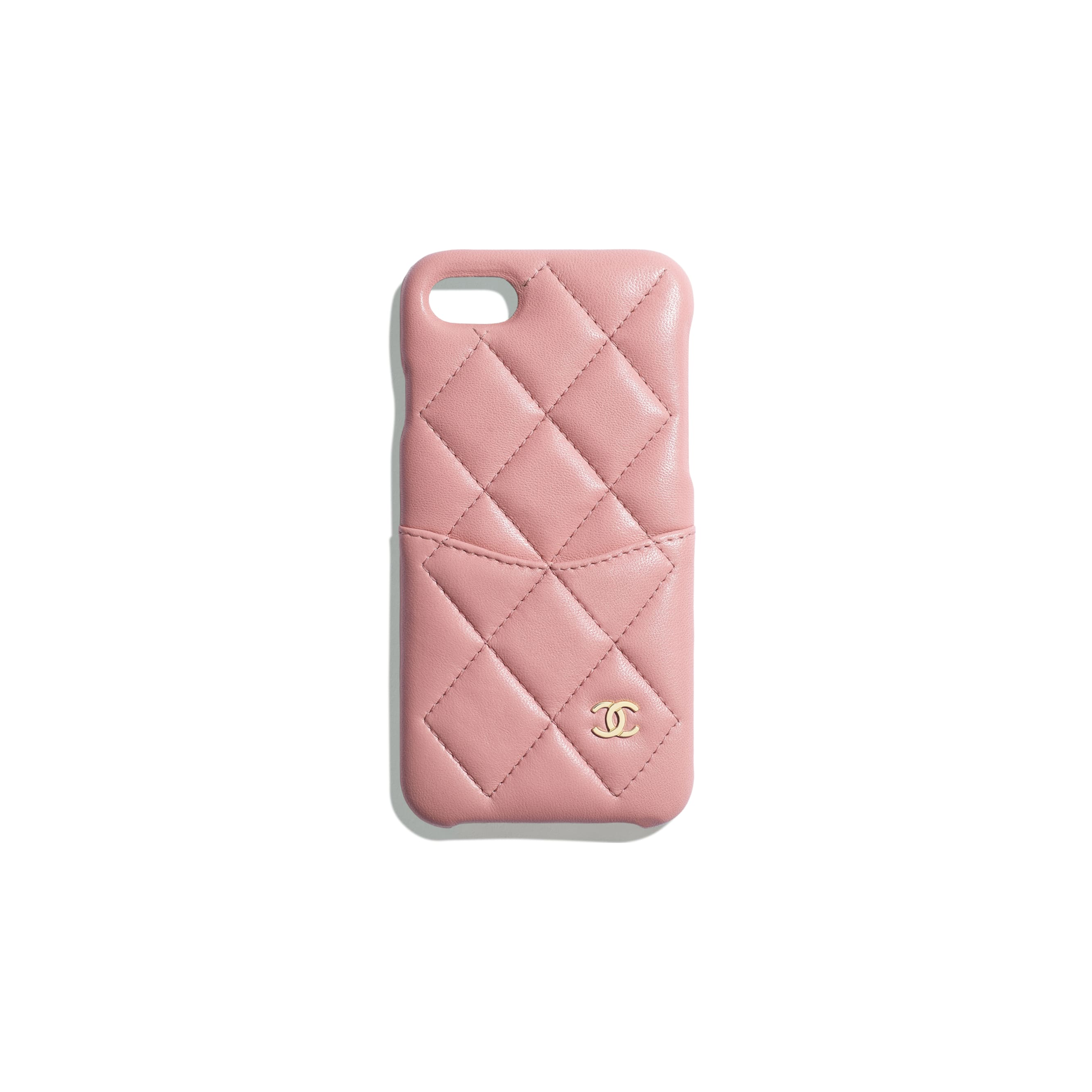 Classic Case for iPhone 7 & 8 - Pink - Lambskin & Gold-Tone Metal - Default view - see standard sized version